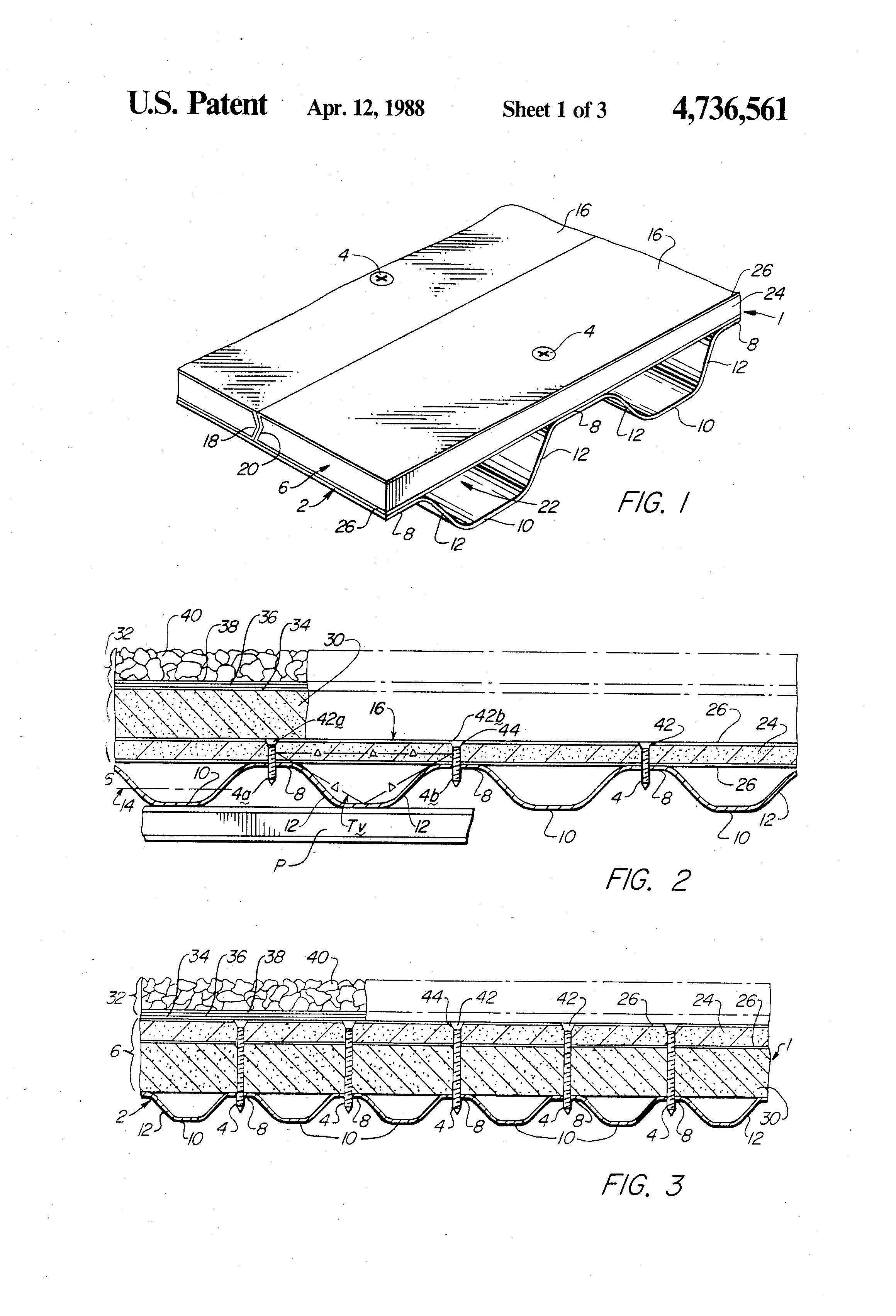 Patent us4736561 roof deck construction google patents patent drawing hexwebz Images