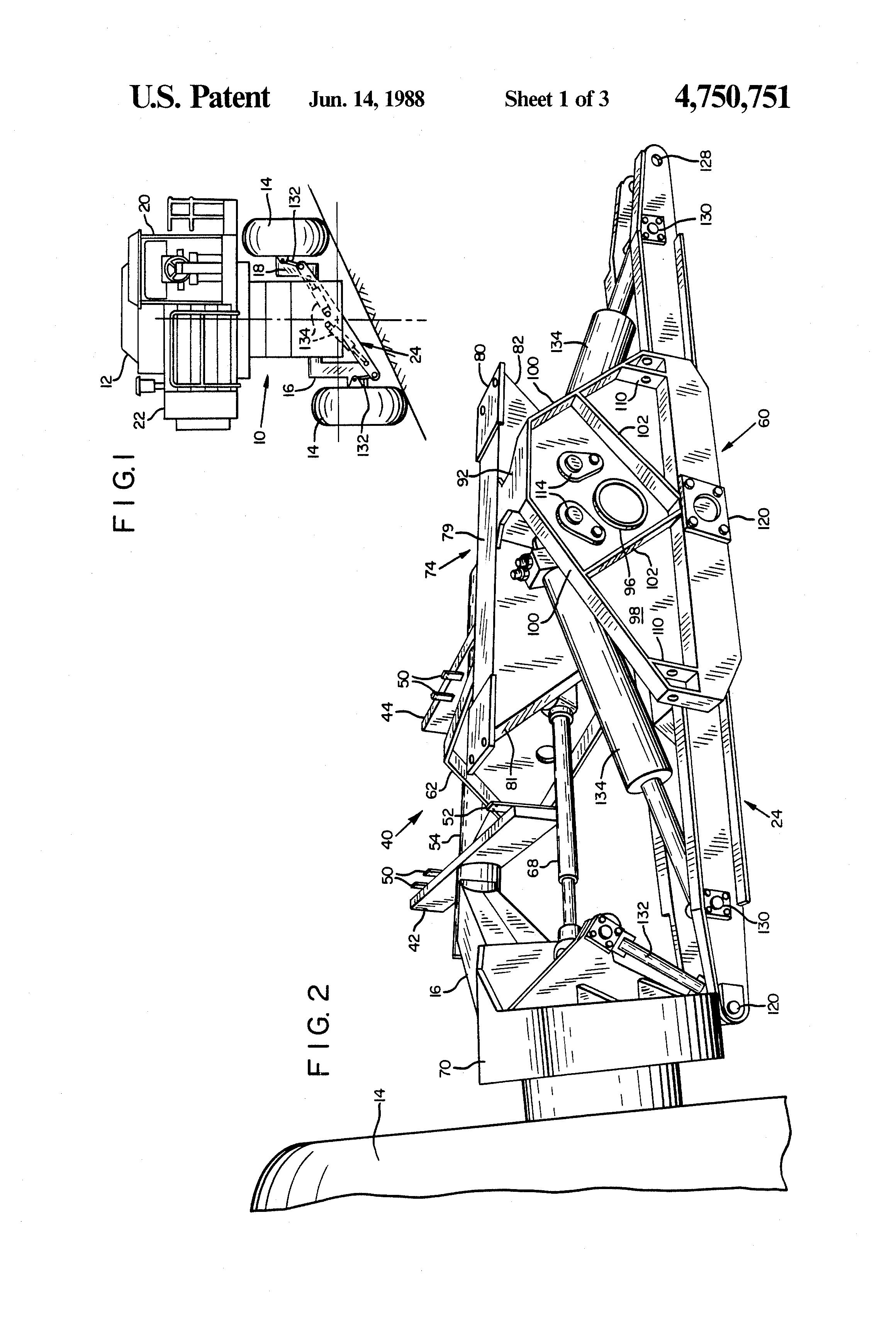 patent us4750751 - pivoting axle for a hillside combine