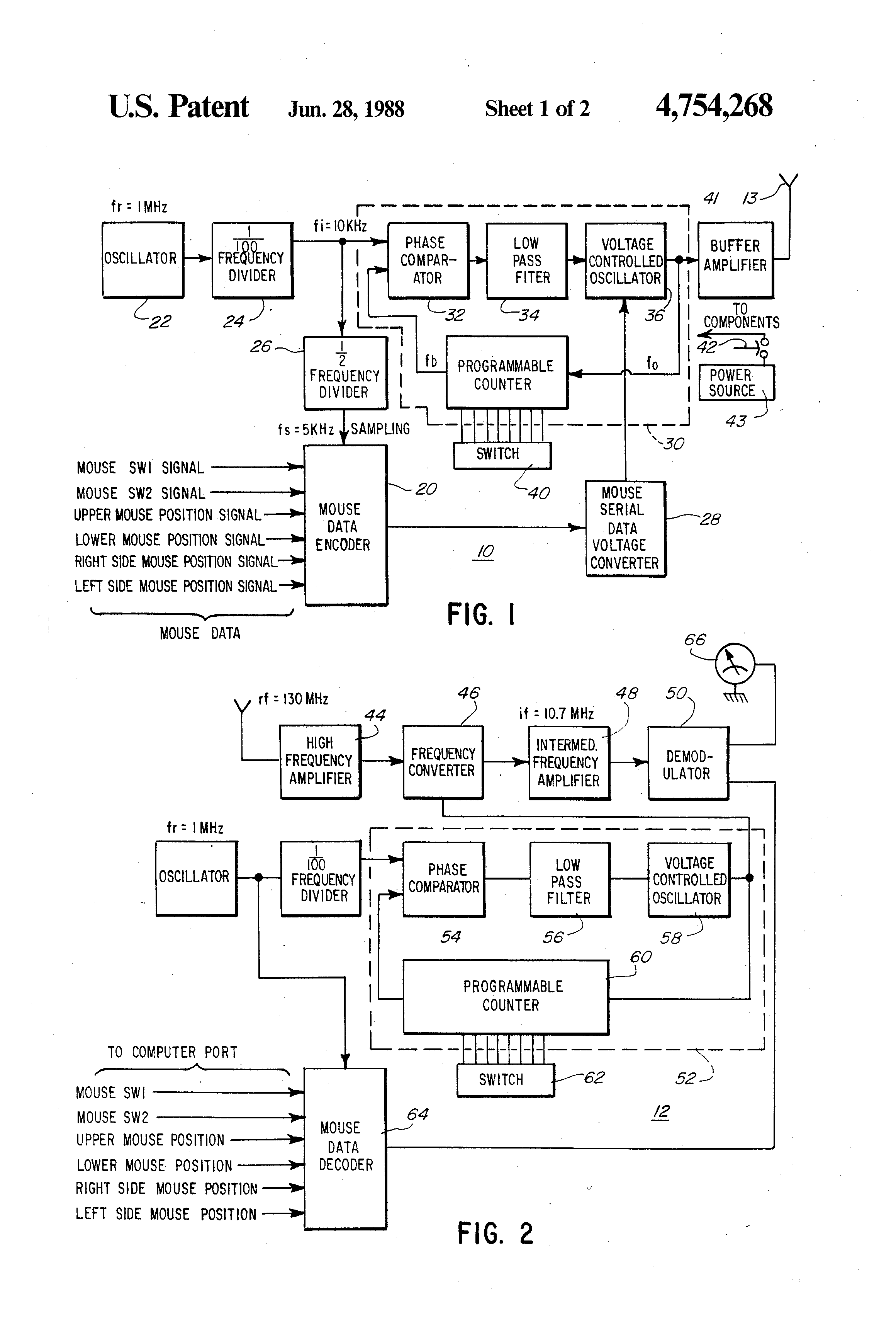 patent us4754268 wireless mouse apparatus google patents patent drawing
