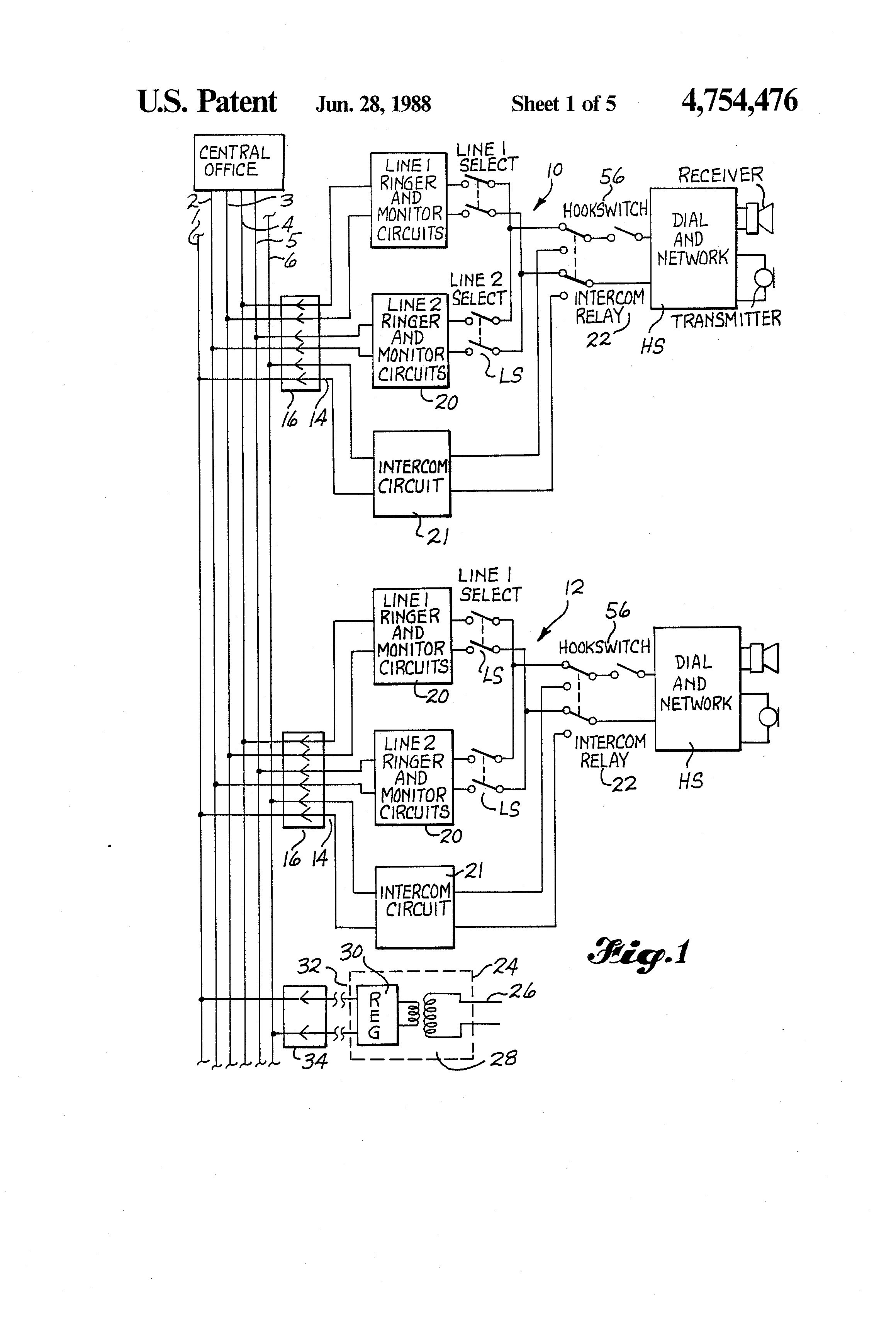 Transistor Intercom Circuit Wireless Patent Us Premises Page System Utilizing Telephone 2320x3408