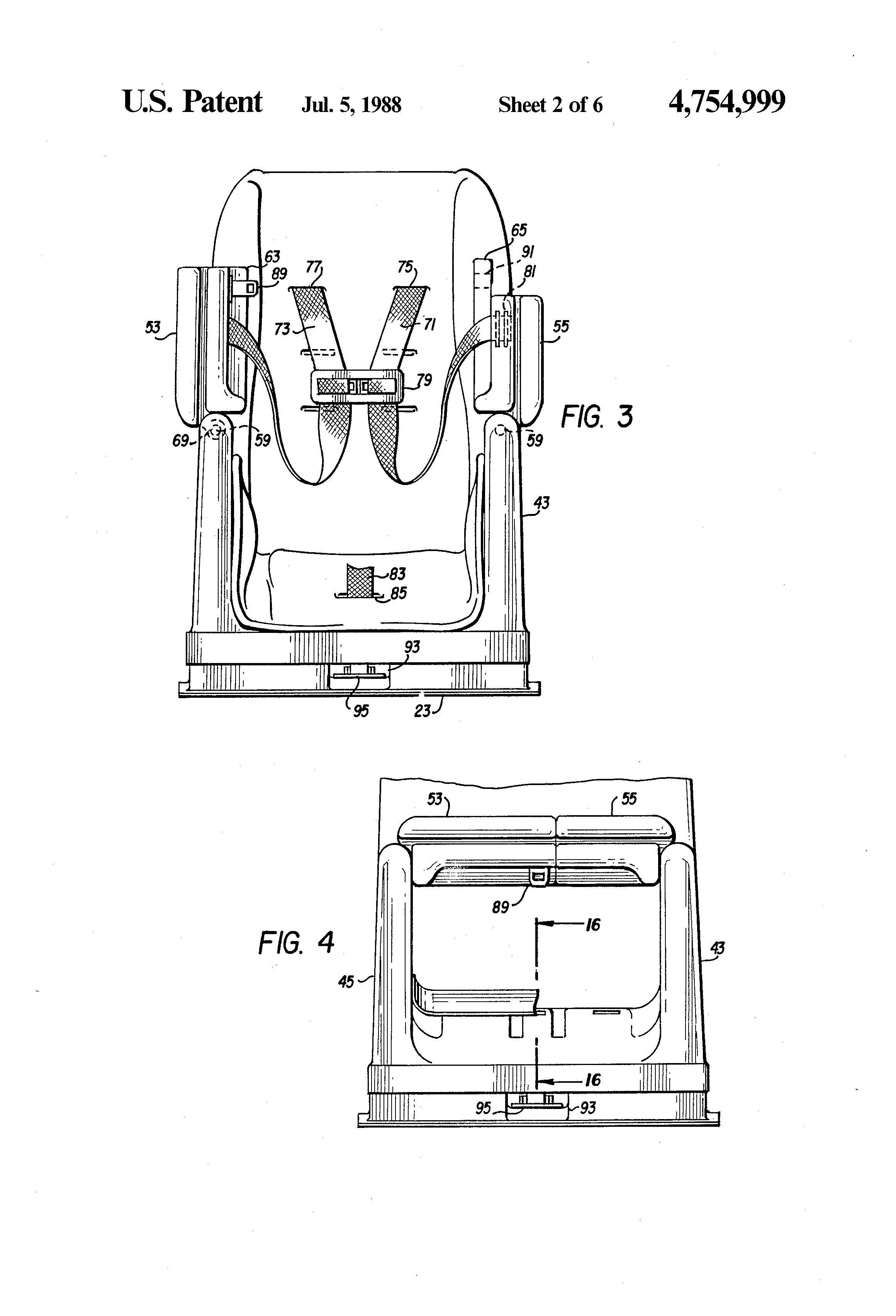 patent us4754999 - child u0026 39 s car seat  booster seat