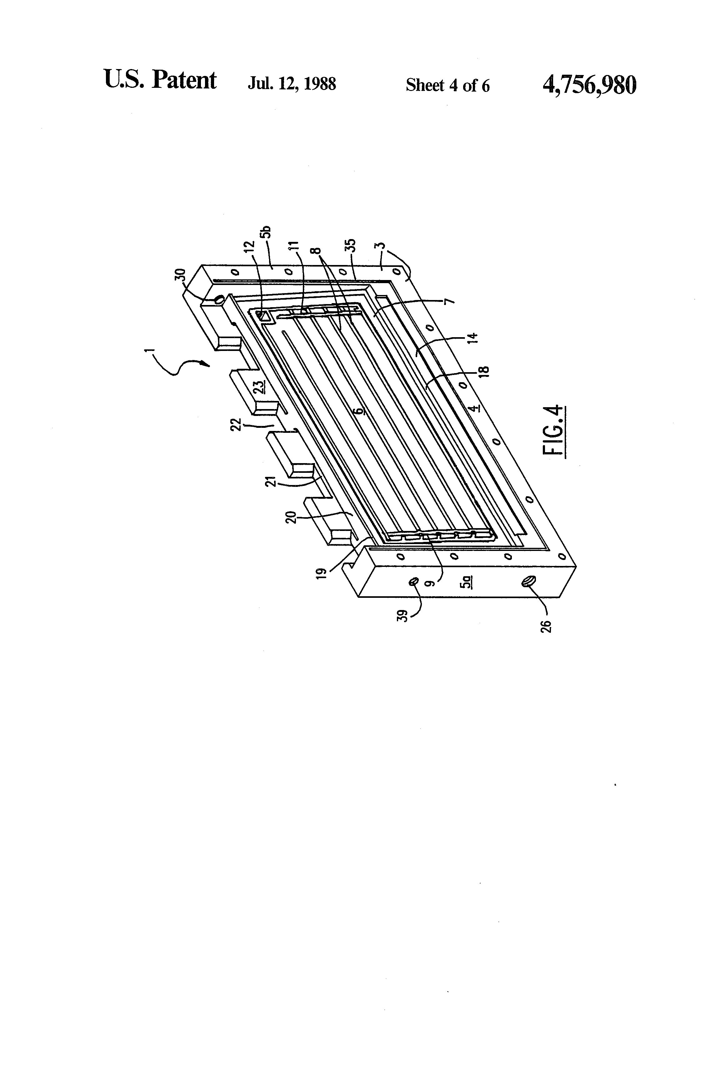 patent us4756980 - battery with modular air cathode and anode cage