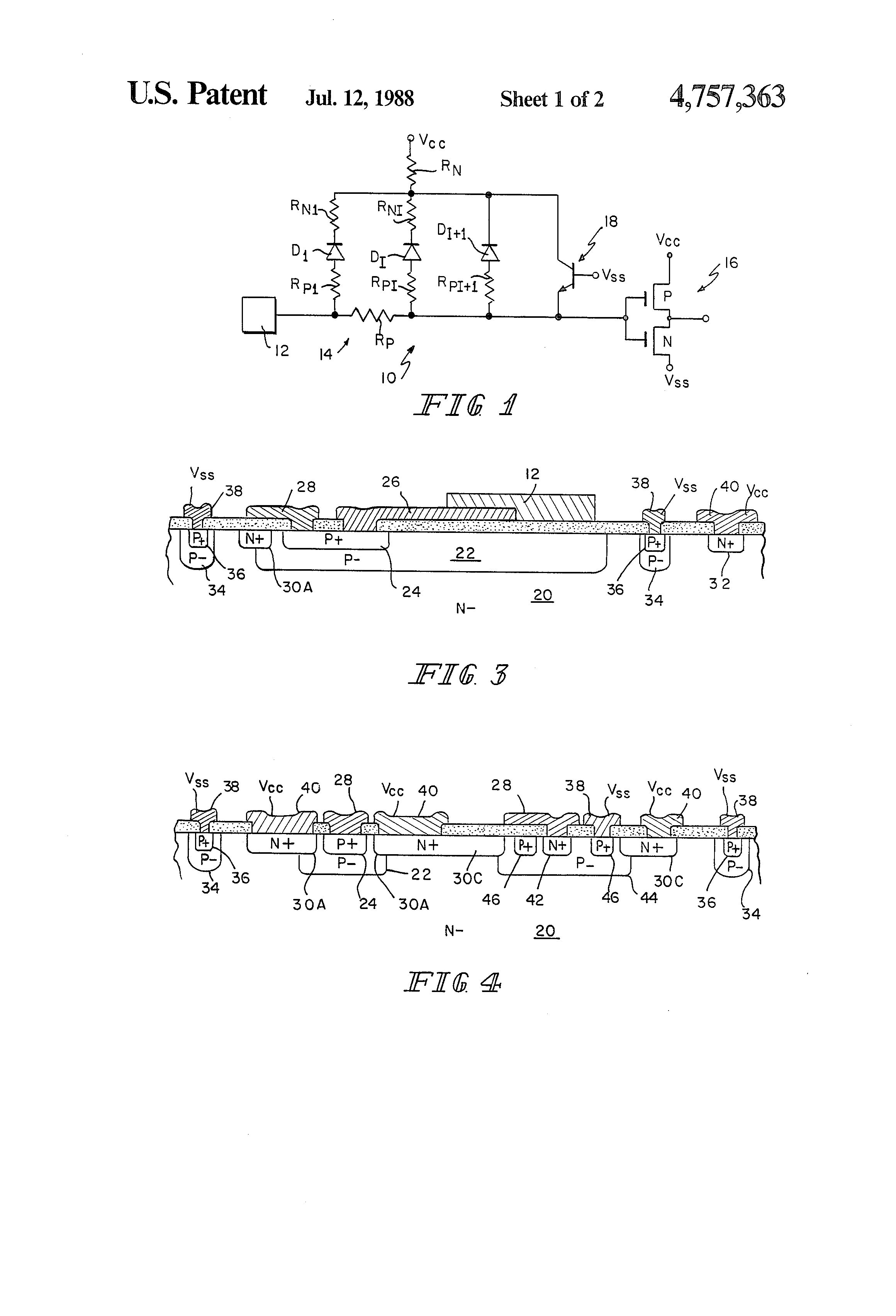 Patent Us4757363 Esd Protection Network For Igfet Circuits With Cmos Gate Circuitry Inverter Circuit Using Igfets Drawing