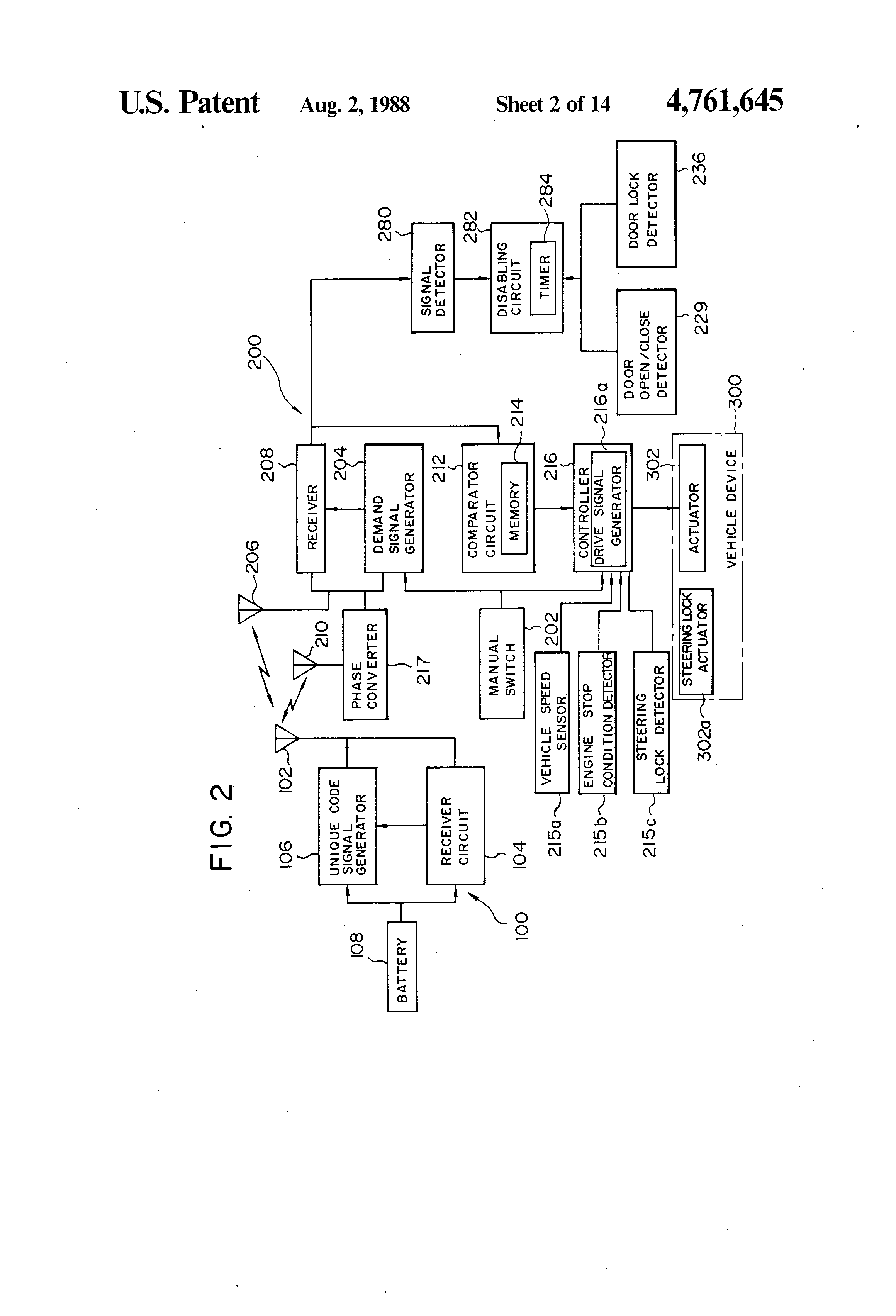 Patent Us4761645 Keyless Entry System For Automotive Devices 1999 Ford 4 6 Engine Diagram 204 Yr Drawing