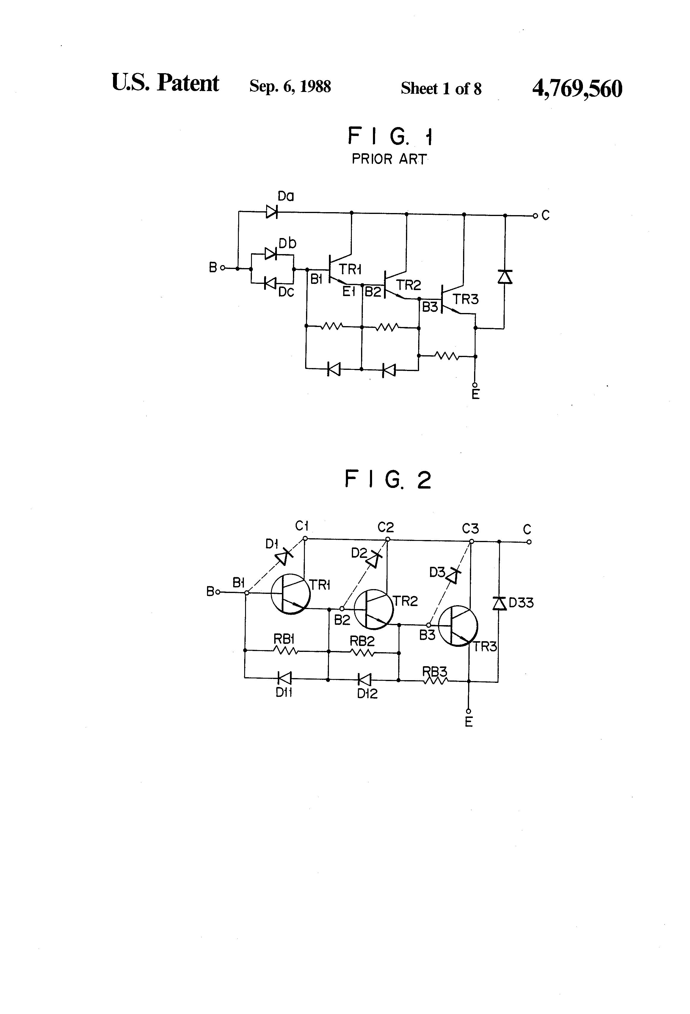 Patent Us4769560 Semiconductor Device Having Darlington Connected Circuit Diagram Of A Pair Using Npn Transistors Drawing