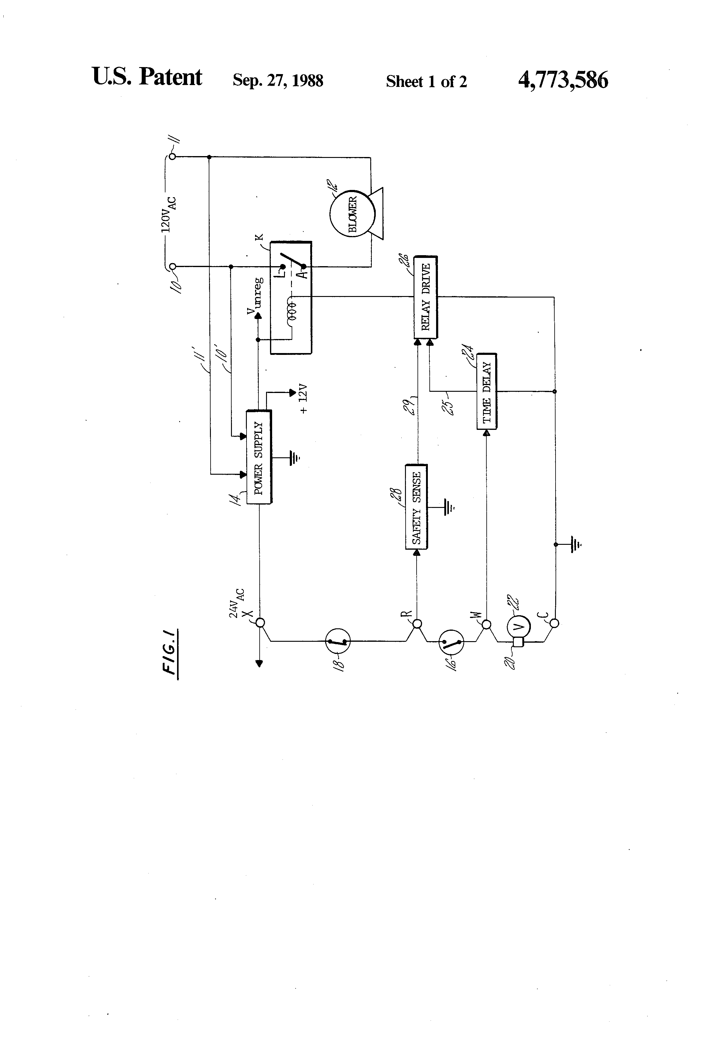 US4773586 1 patent us4773586 blower control circuit for a furnace google camstat wiring diagram at bayanpartner.co