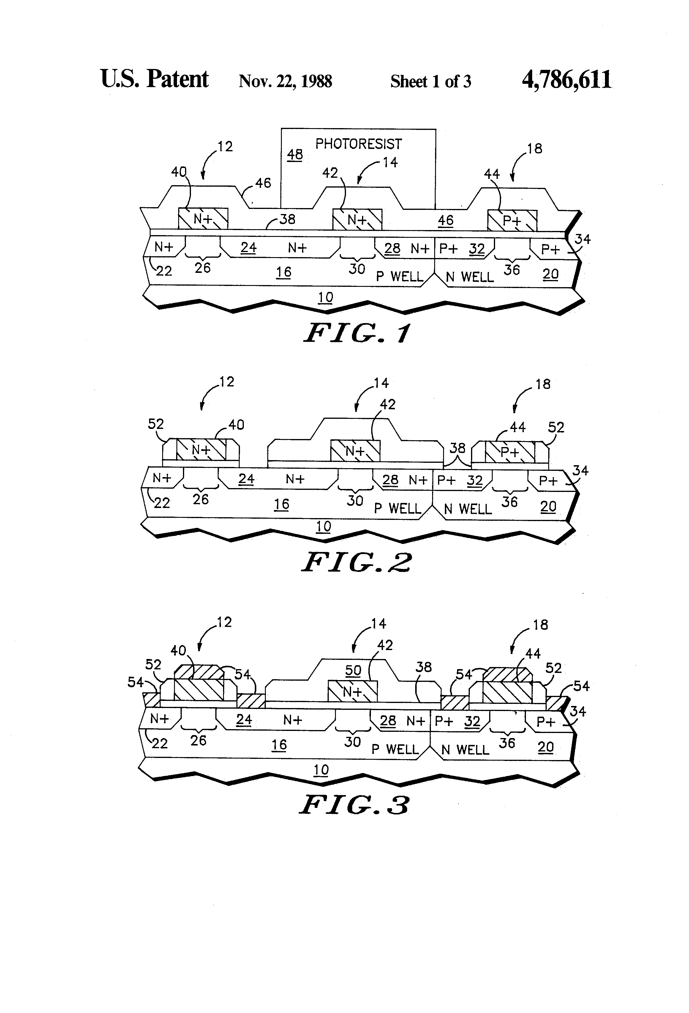 Patent Us4786611 Adjusting Threshold Voltages By Diffusion Through Of Impurities For Ic Fabrication Drawing