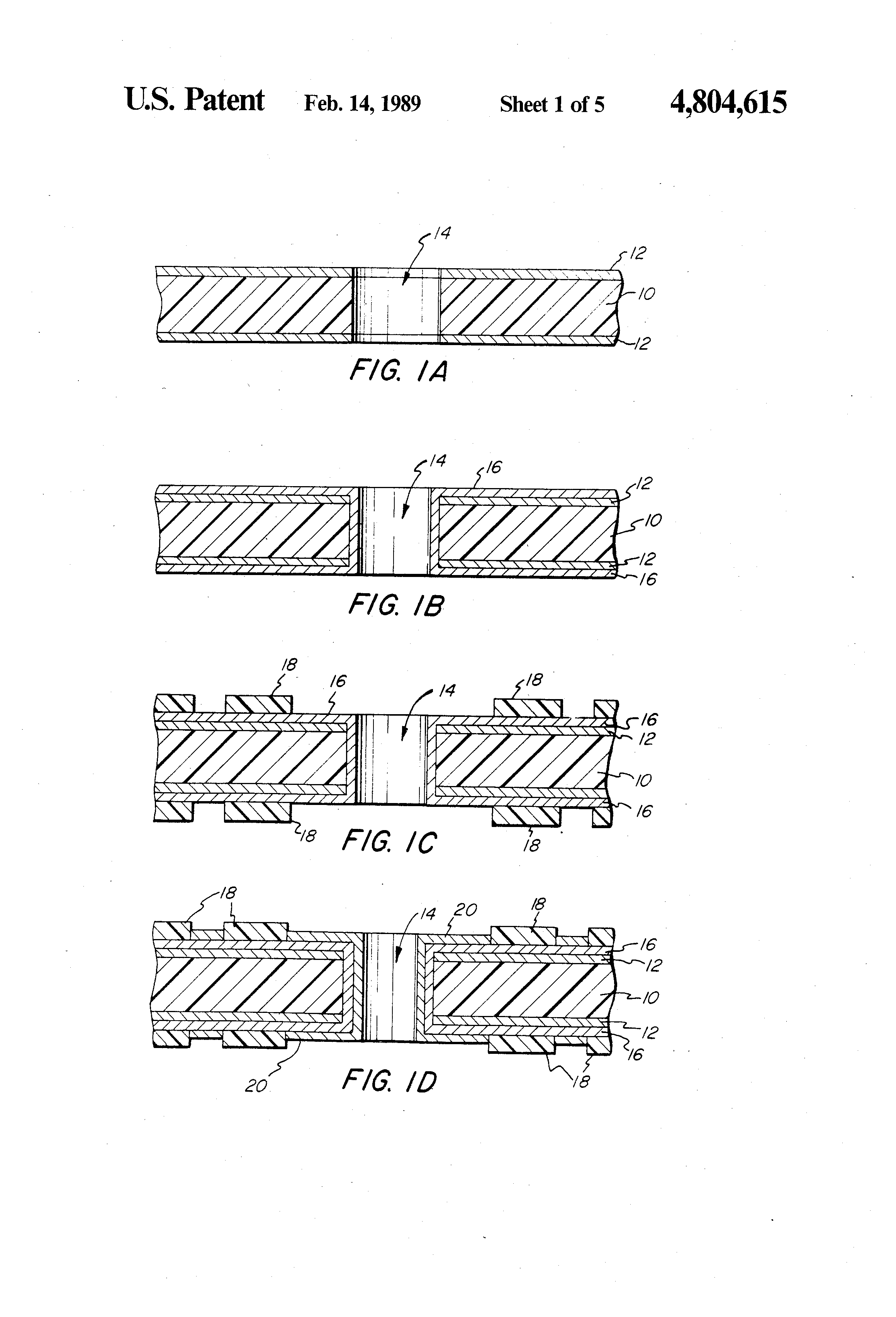 Brevet Us4804615 Method For Manufacture Of Printed Circuit Boards Metal Clad Double Sided Pcb Multilayer Board Fabrication Patent Drawing