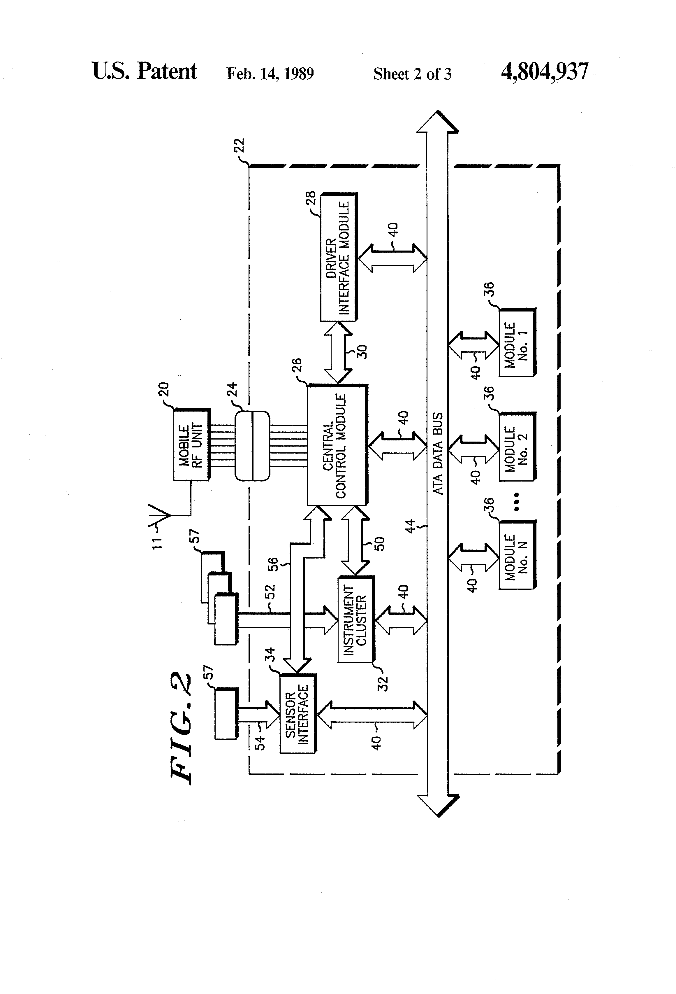 patent us4804937 vehicle monitoring arrangement and system patent drawing