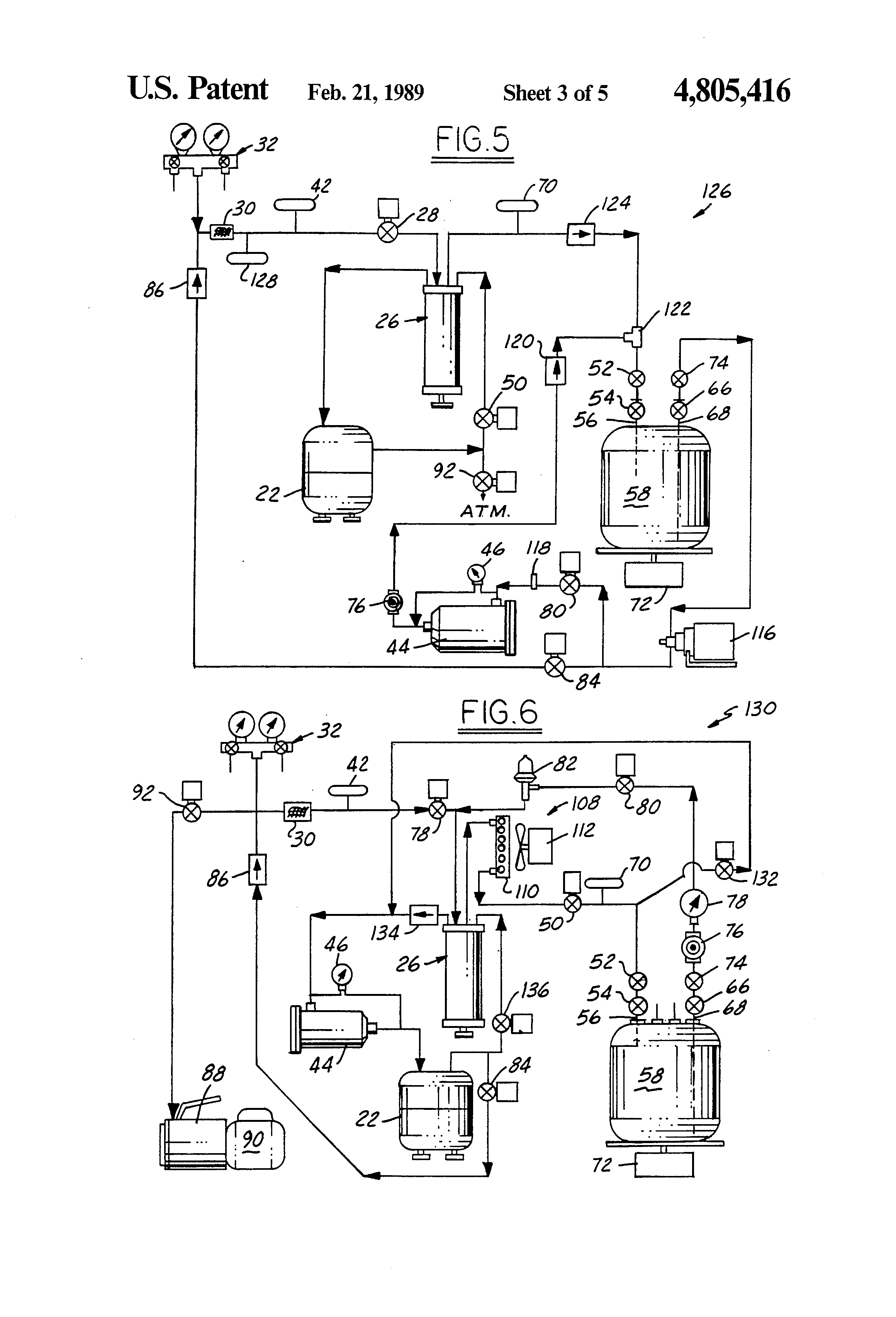 patent us4805416 refrigerant recovery purification and patent drawing