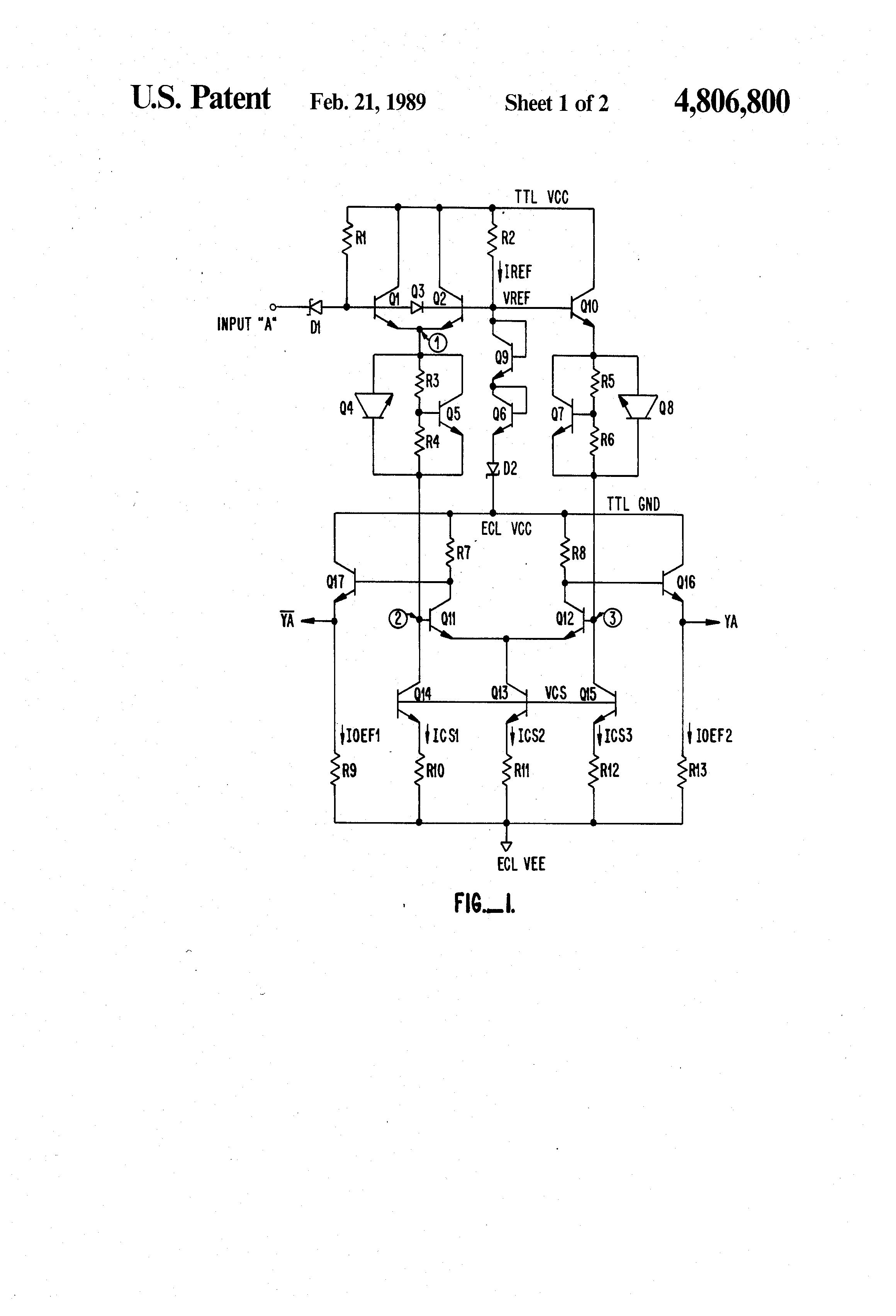 patent us4806800 ttl to ecl input translator driver circuit