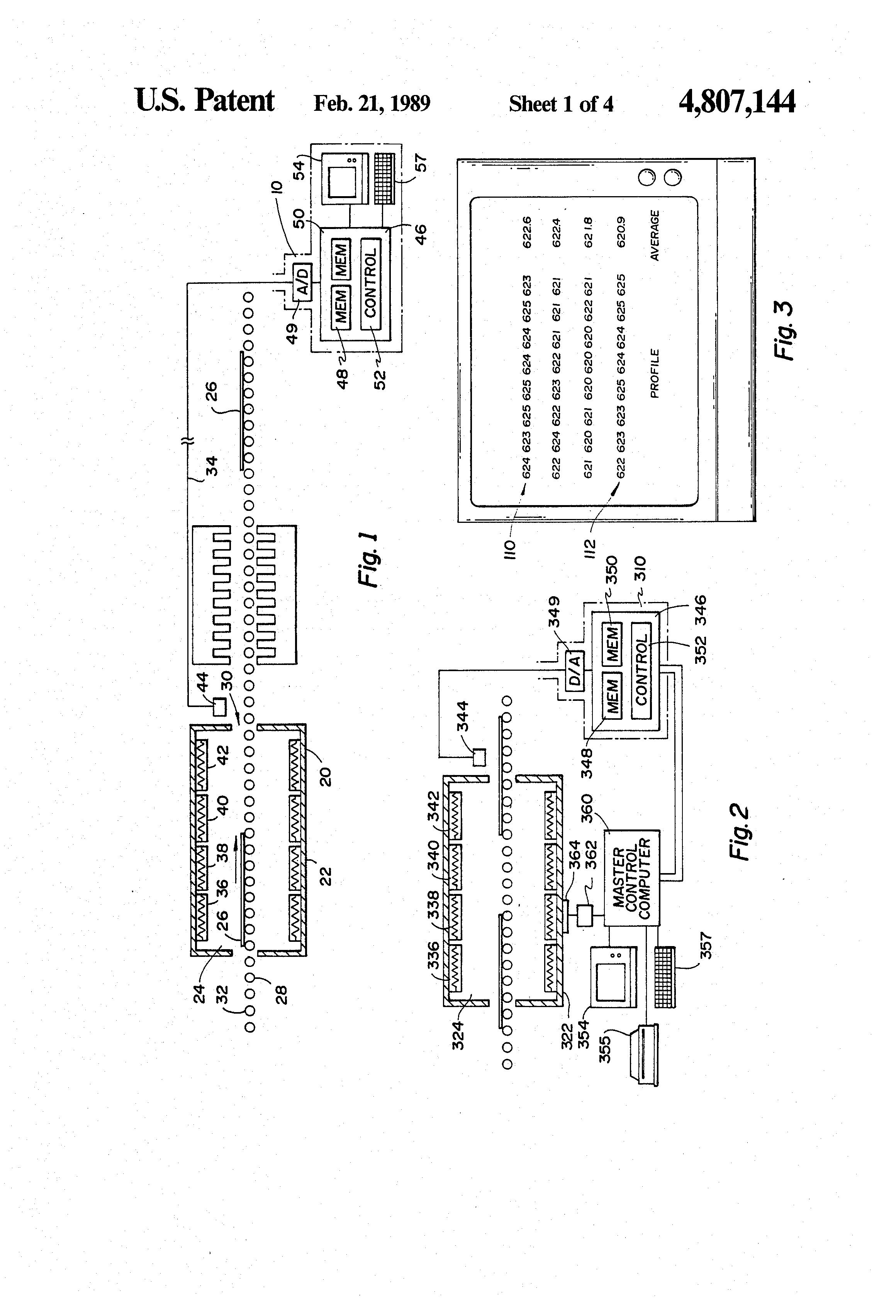 Patent US4807144 Temperature control system for glass sheet furnace  #3E3E3E