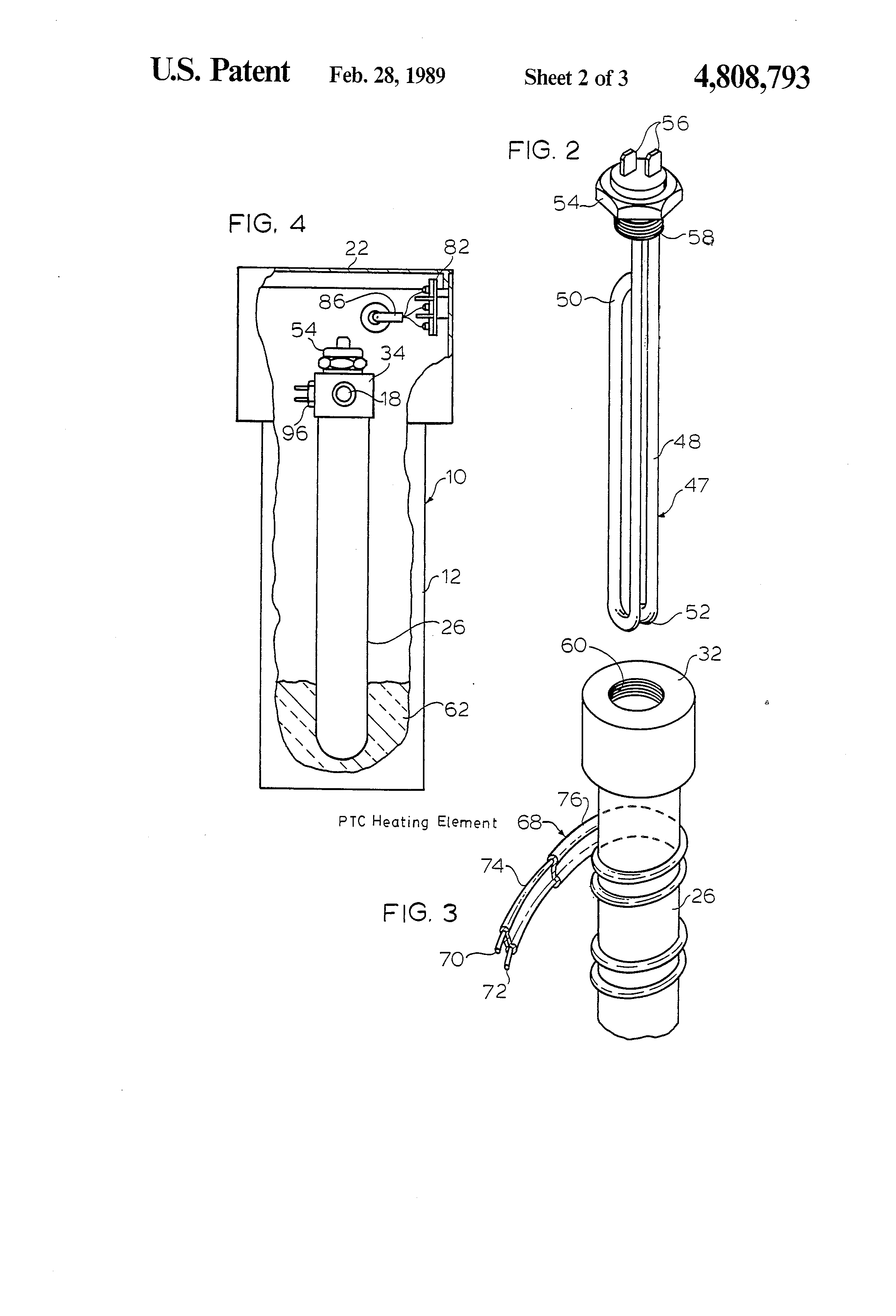 patent us4808793 - tankless electric water heater with instantaneous hot water output