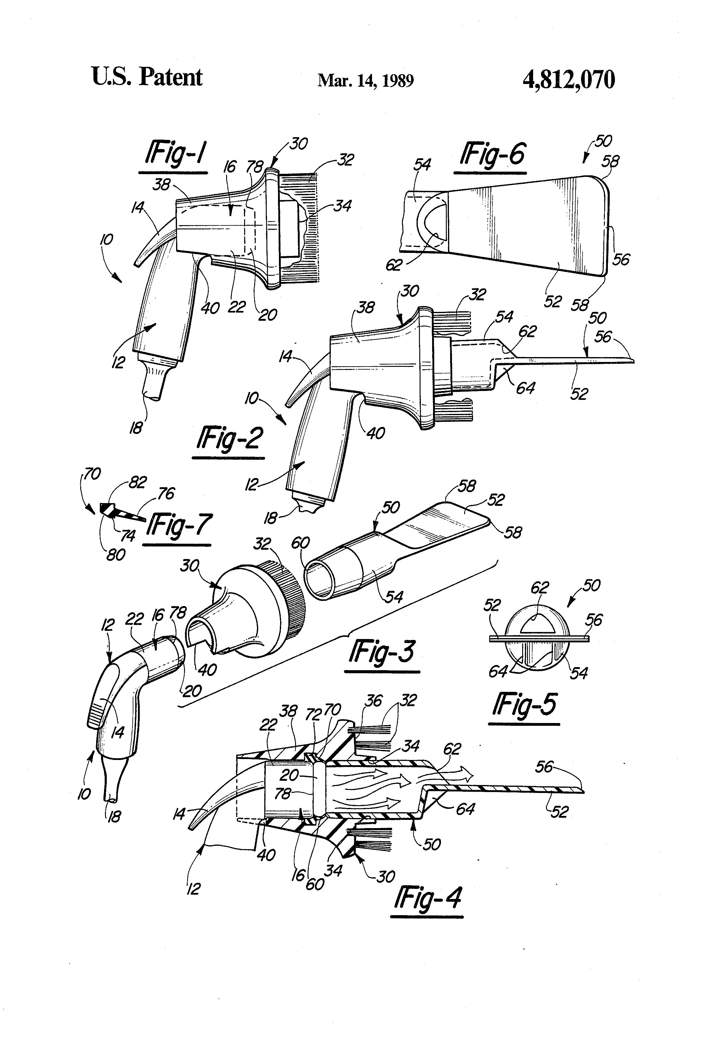 patent us4812070 brush and scraper attachment for faucet spray patent drawing