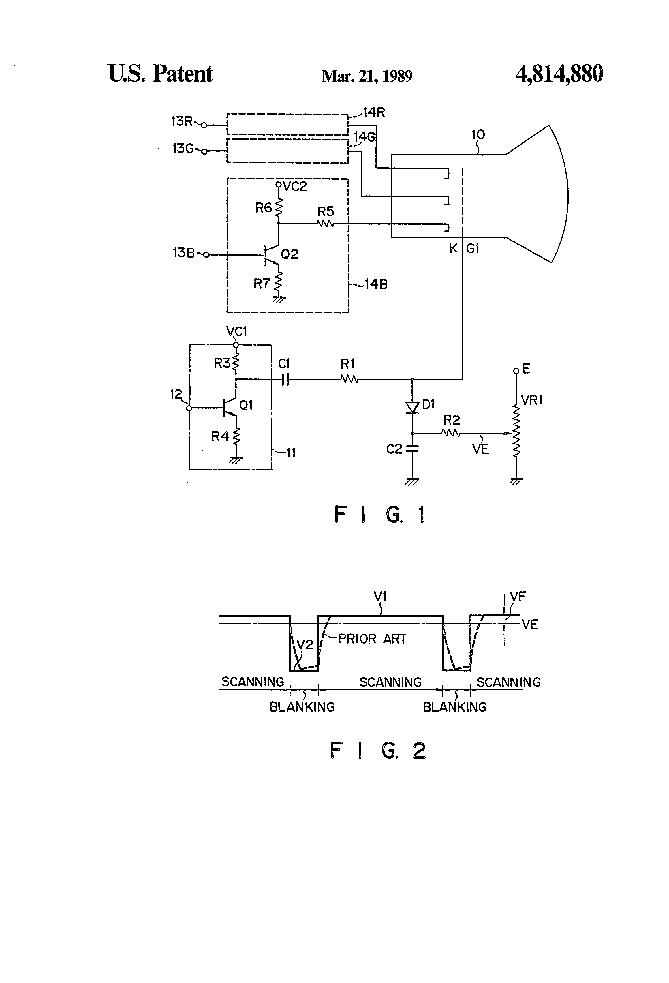 Patent Us4814880 Blanking Circuit For Use In A Display Apparatus Crt Screen Schematic Drawing