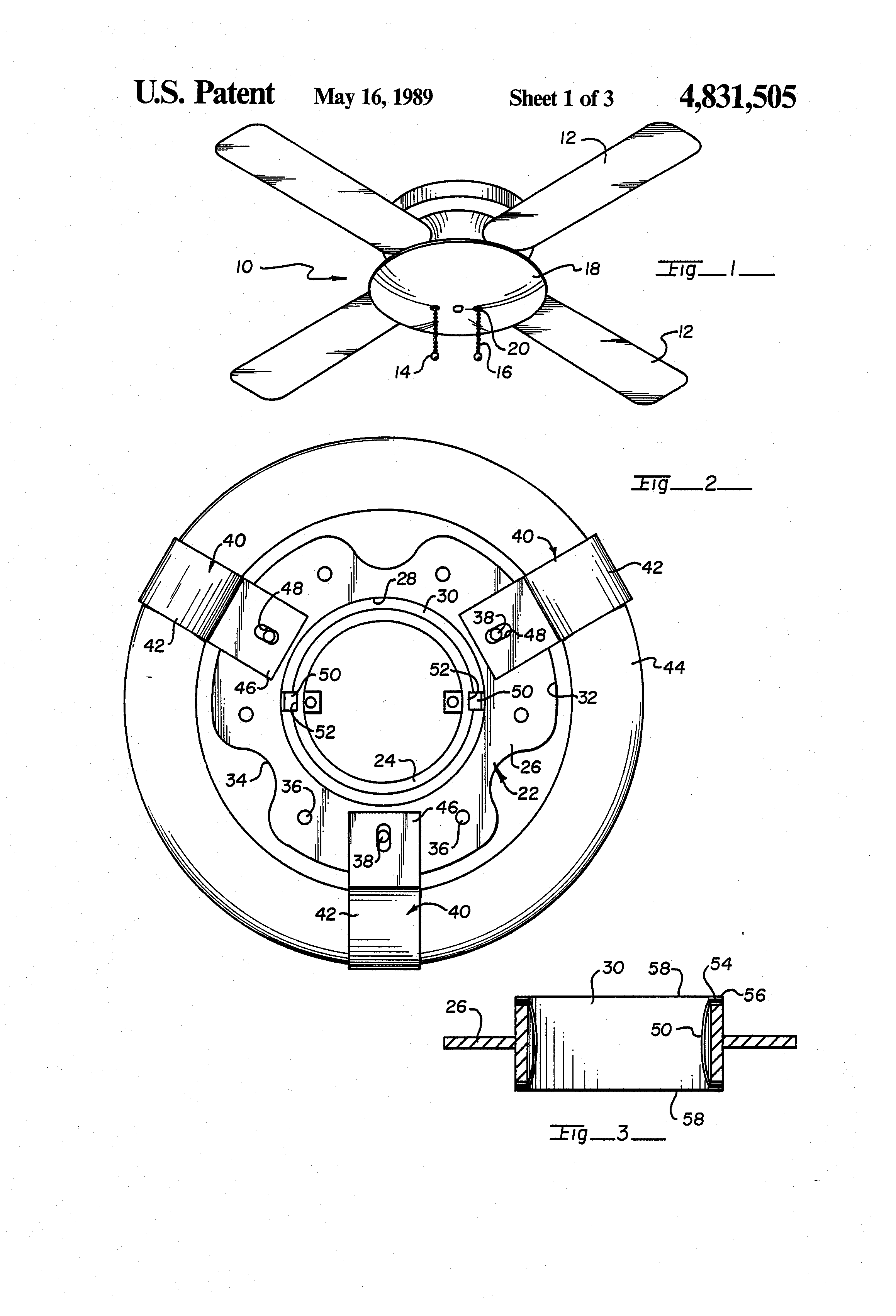 patent us4831505 - circular flourescent tube light fixture for ceiling fan