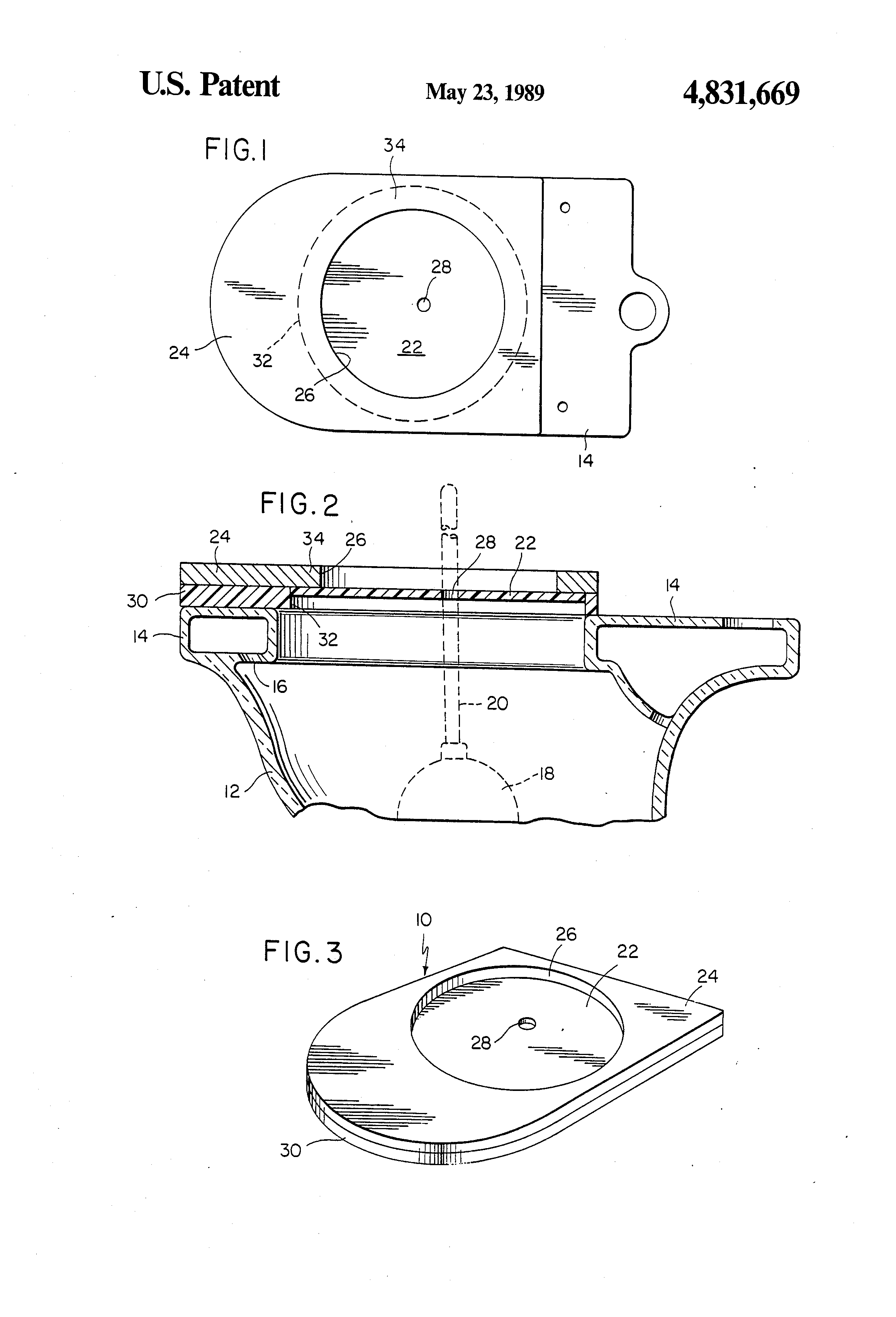 patent us4831669 plunger splash guard for a toilet bowl google patents. Black Bedroom Furniture Sets. Home Design Ideas