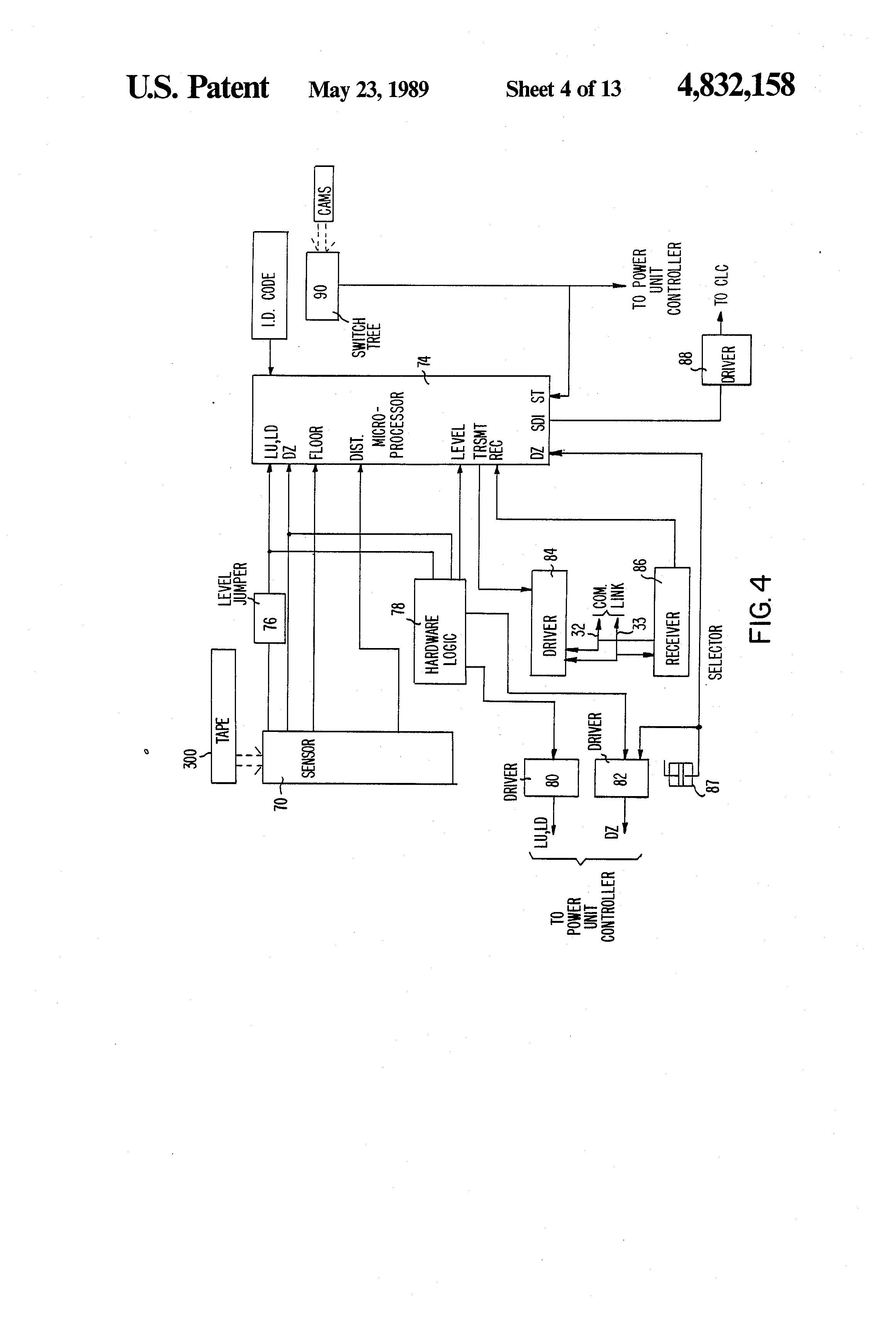 US4832158 4 patent us4832158 elevator system having microprocessor based elevator recall wiring diagram at gsmportal.co