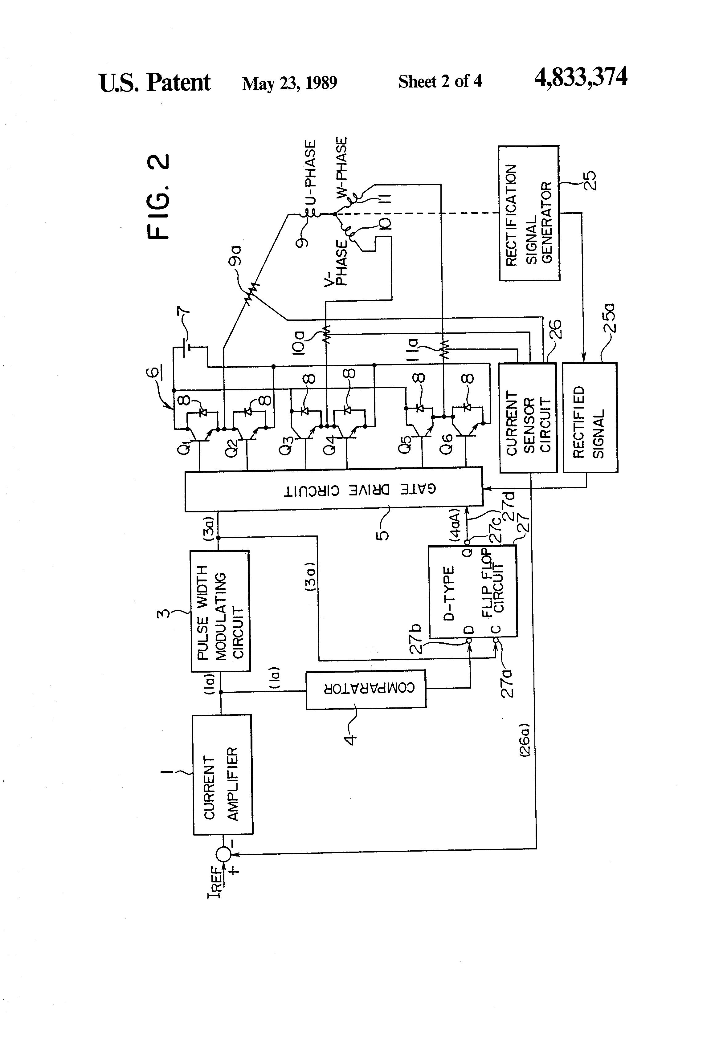 Patent Us4833374 Control Circuit For Brushless Electric Motor Pulse Width Modulator Diagram Drawing