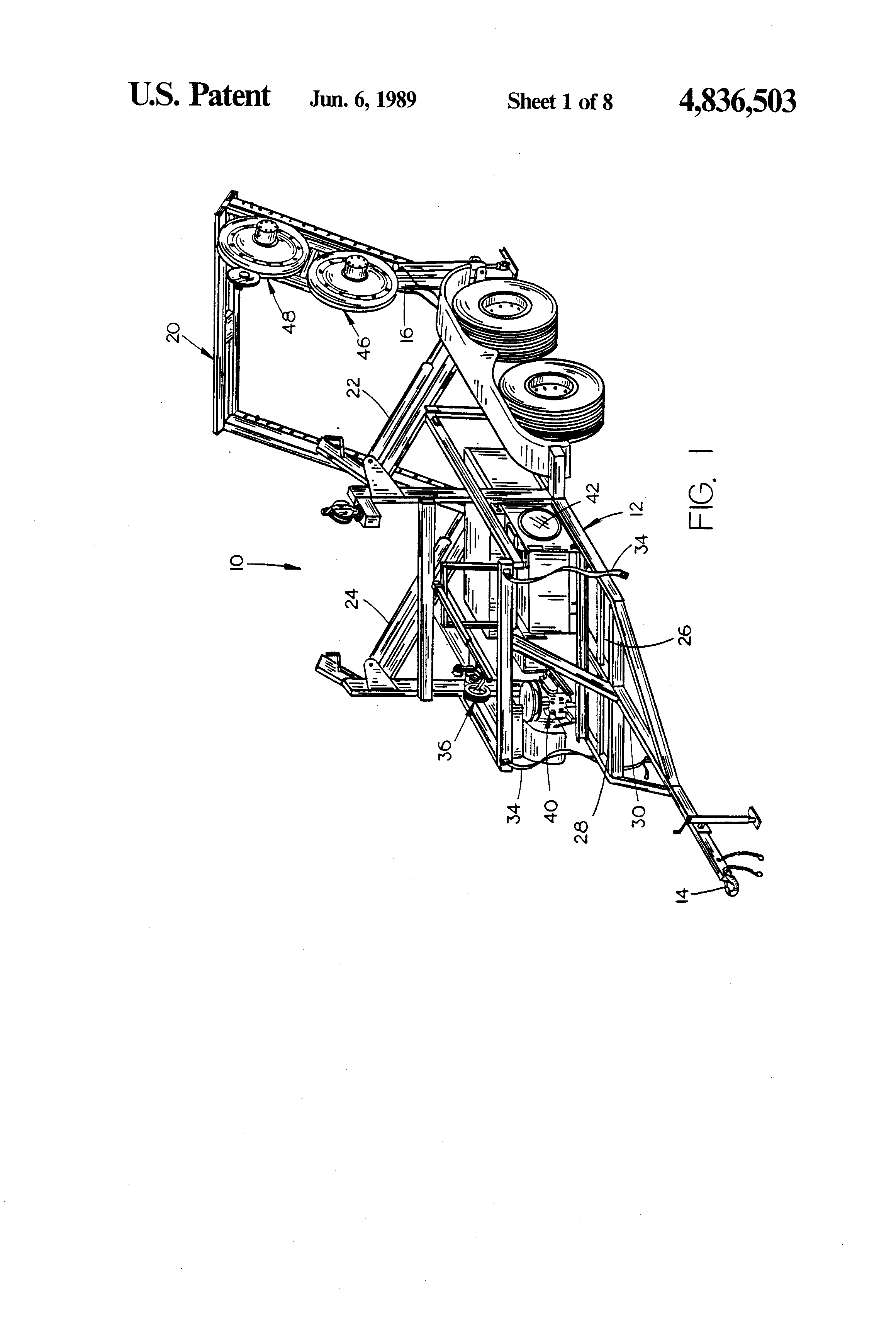 patent us4836503 - method for pulling fiber optic cable through a conduit