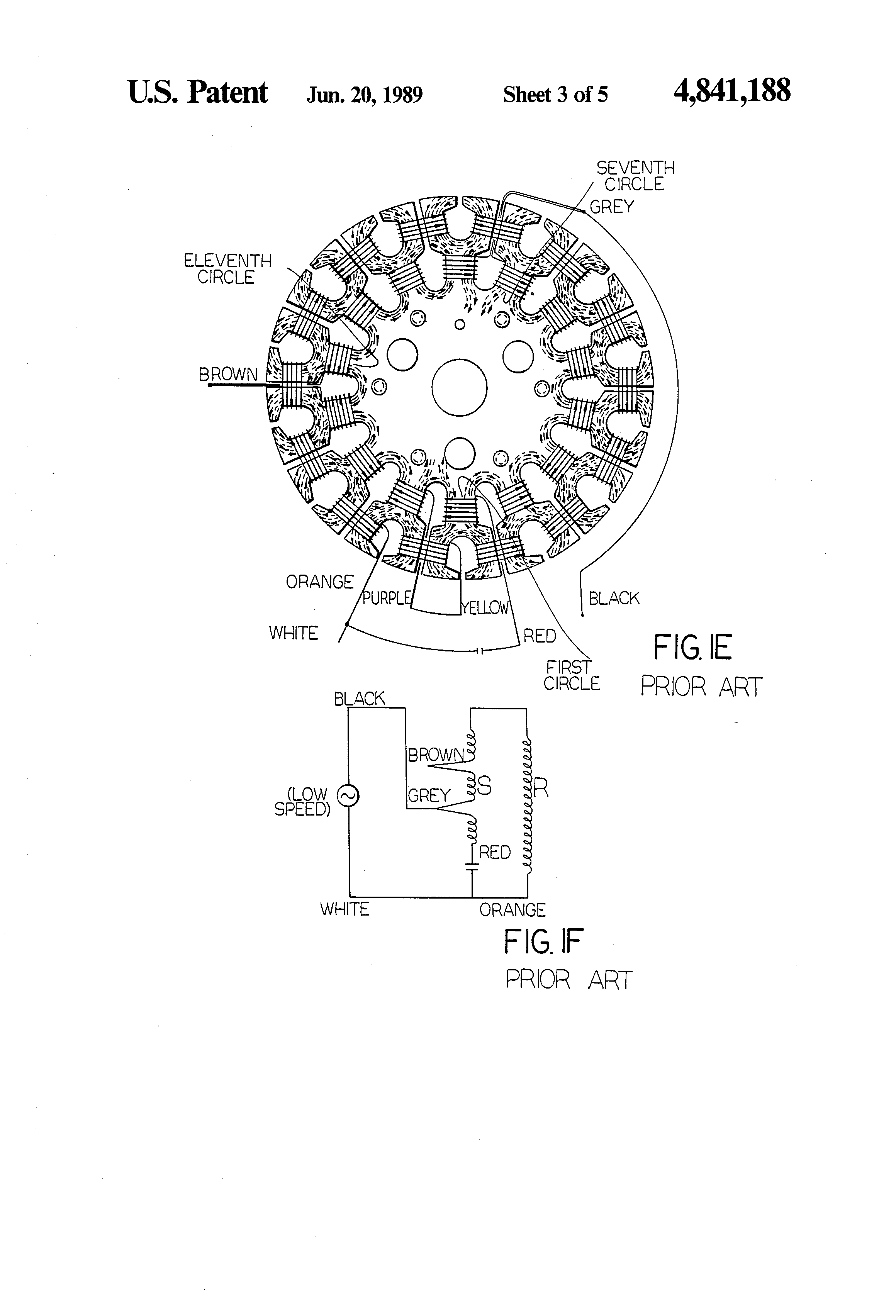 patent us4841188 - speed changing device for electric fans, Wiring diagram