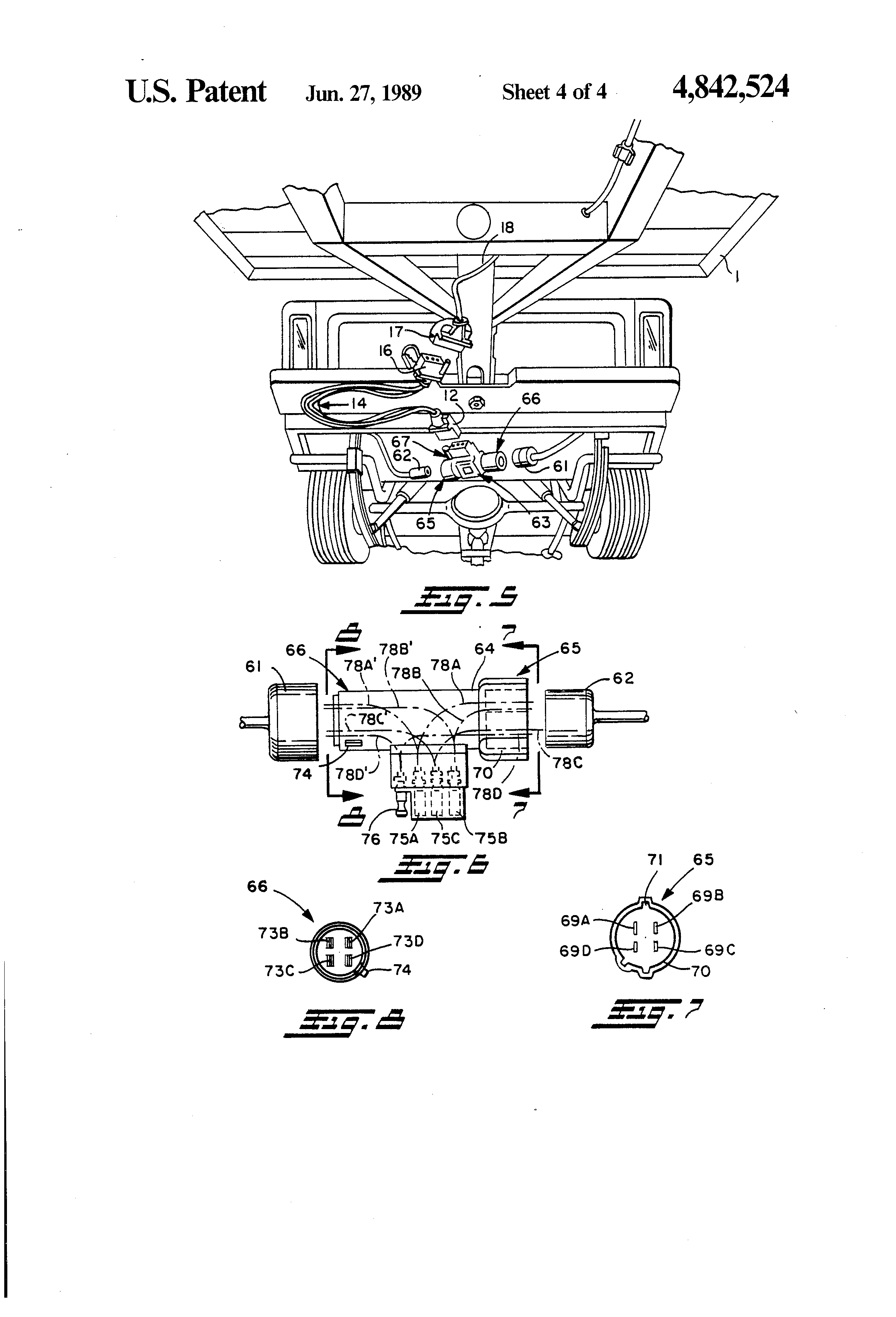 patent us4842524 - trailer light connection systems