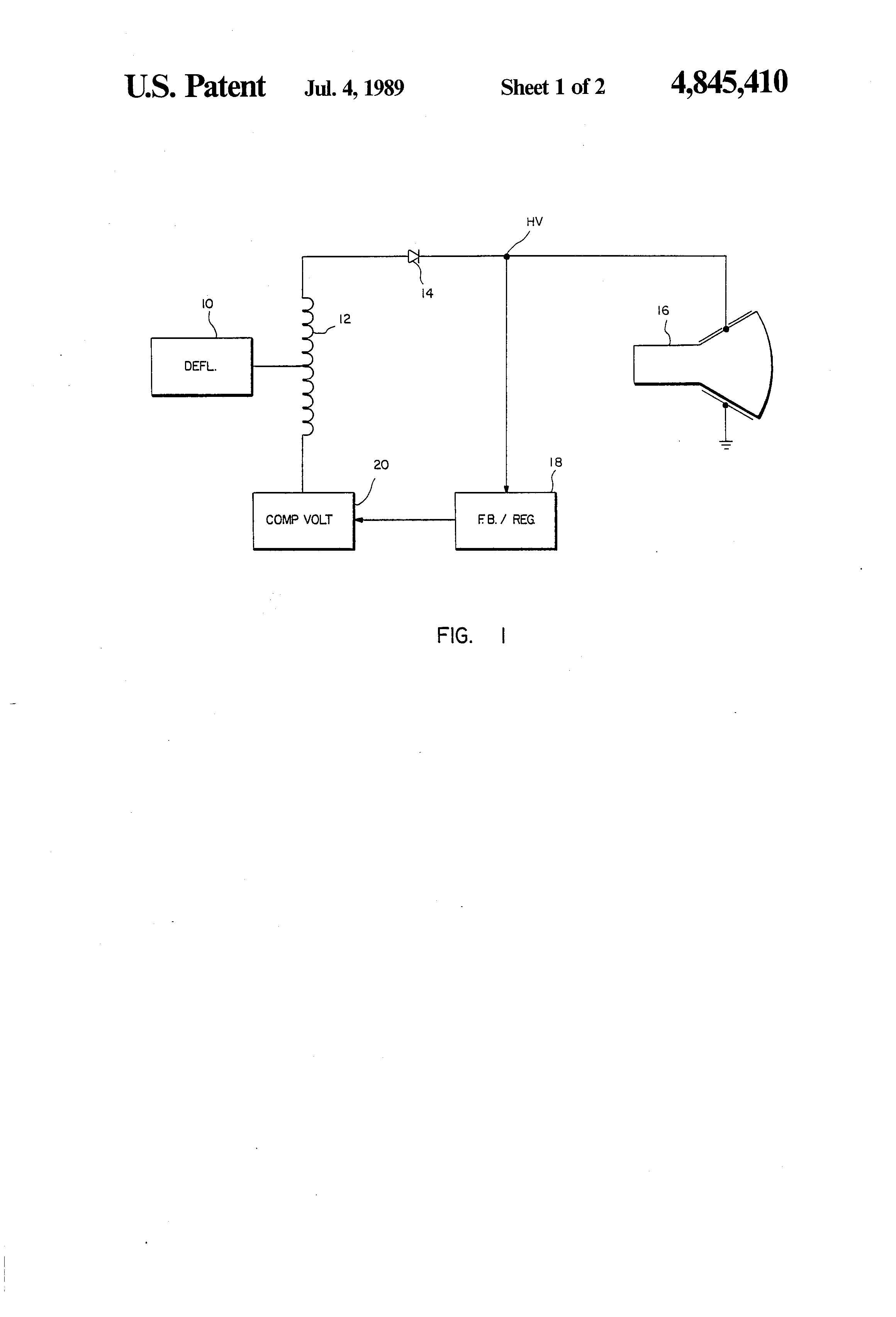 Patent Us4845410 Low Cost High Speed Voltage Flyback 300v Variable Power Supply Circuit Schematic Drawing