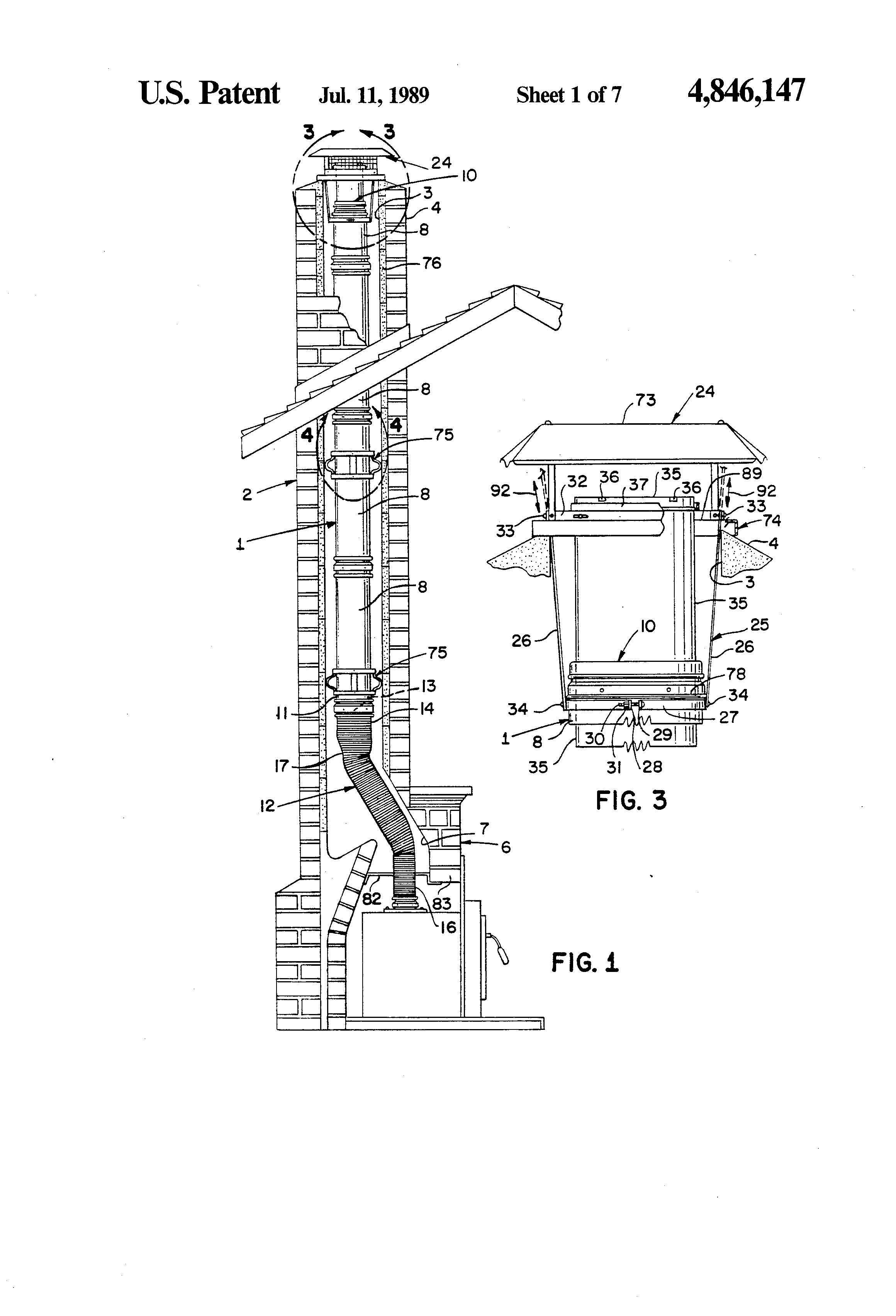 Patent Us4846147 Chimney Liner System Google Patents