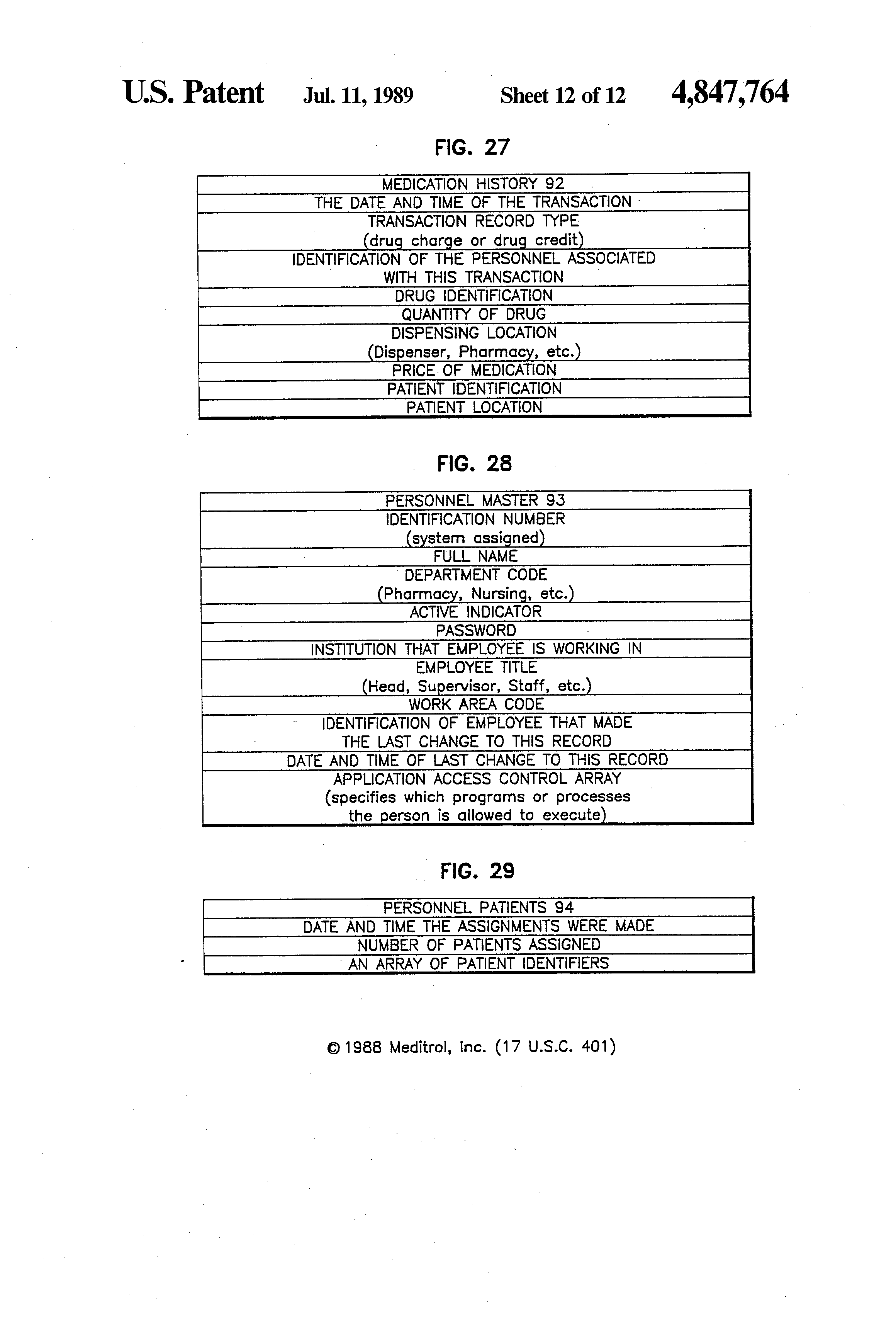 Patent US4847764 System for dispensing drugs in health care