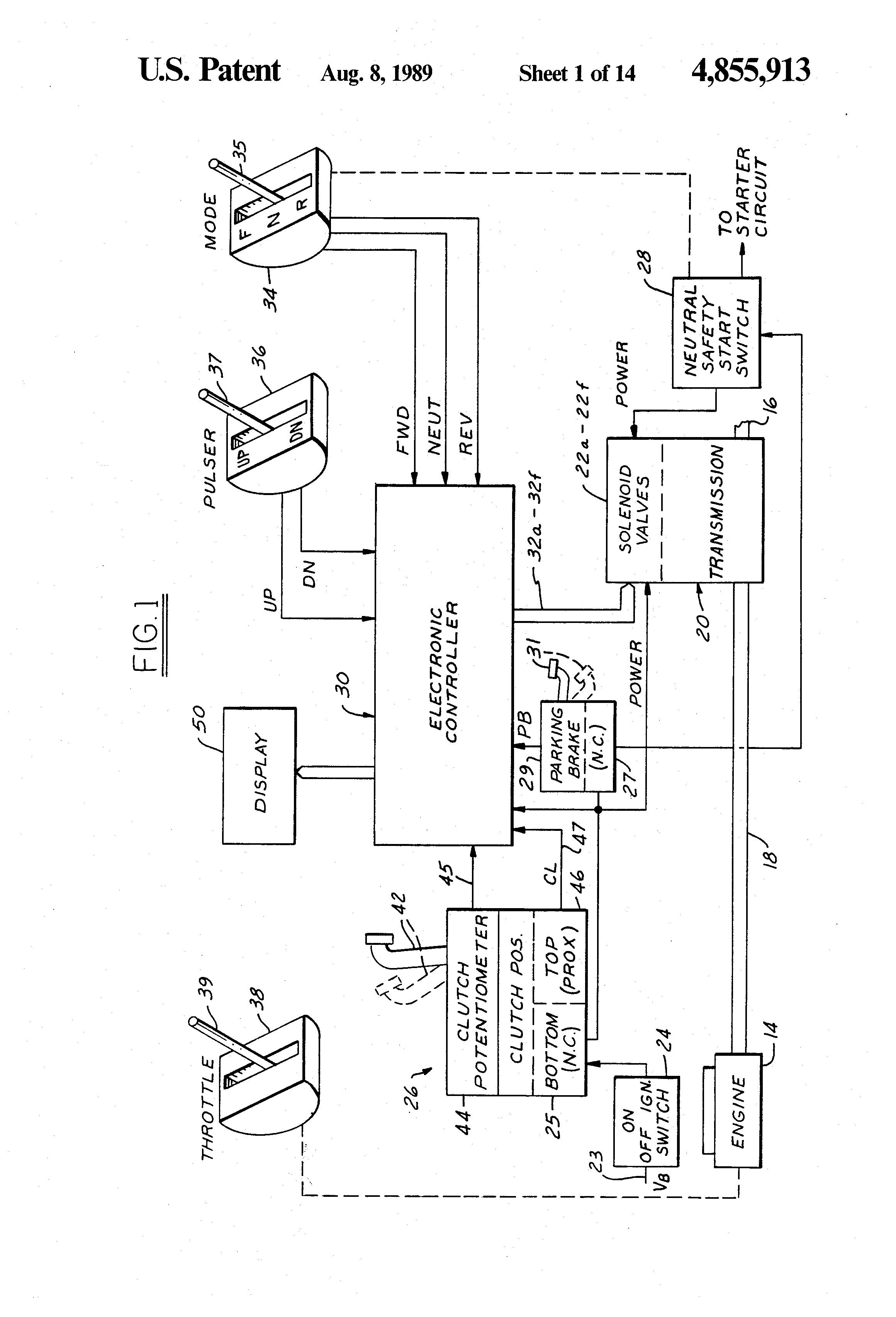 patent us4855913 - electronic control system for powershift transmission