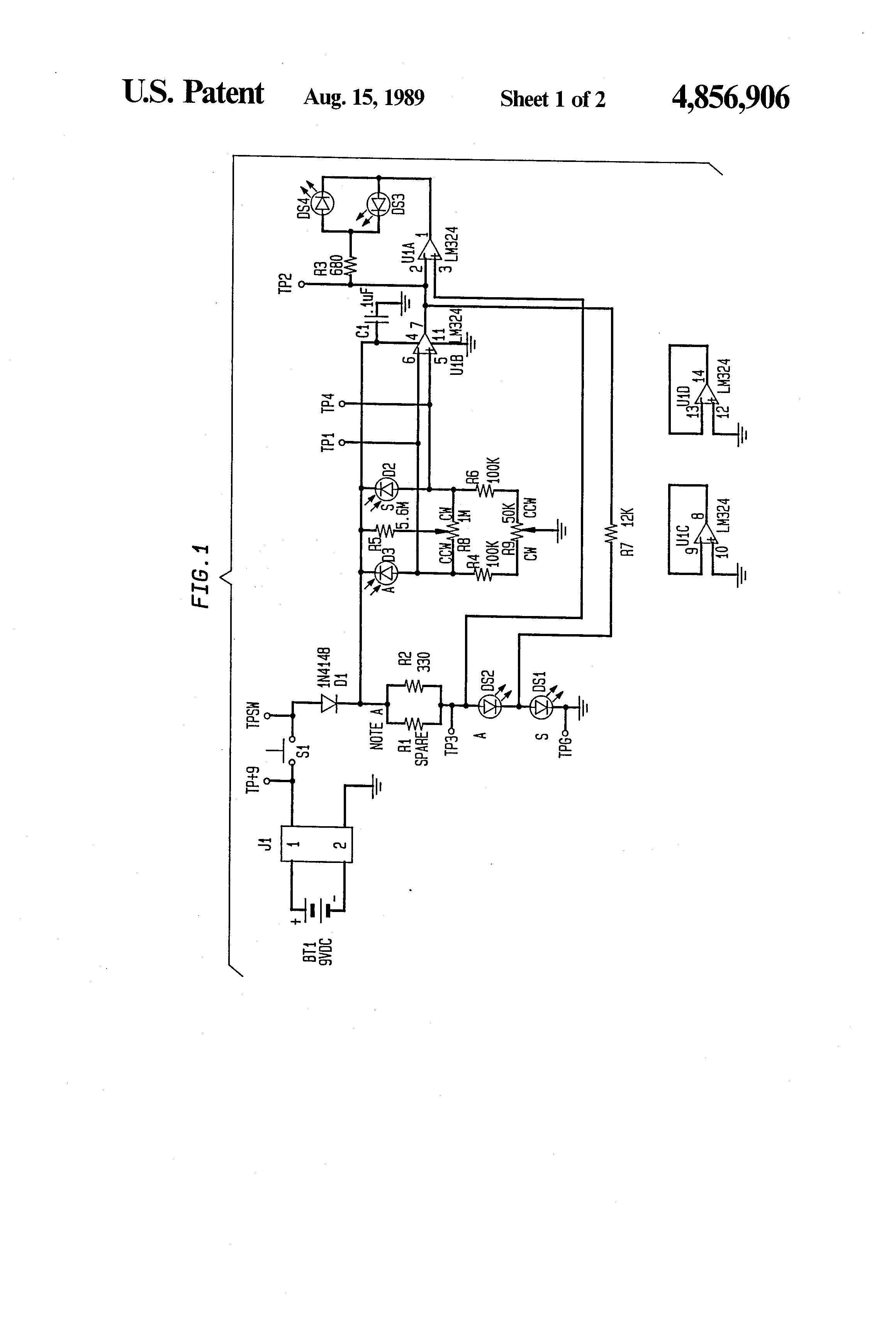 Patent Us4856906 Enhanced System For Transmission Loss Comparison Two Led Flashing Alternate Display Using Lm324 Drawing