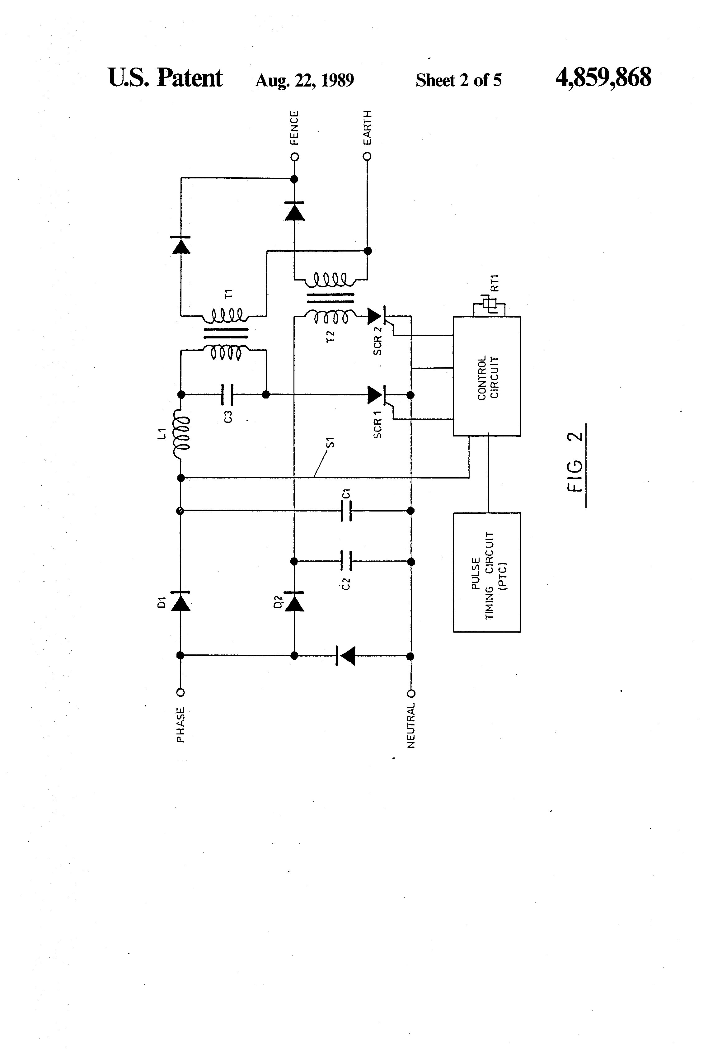 patent us4859868 - electric fence energizer