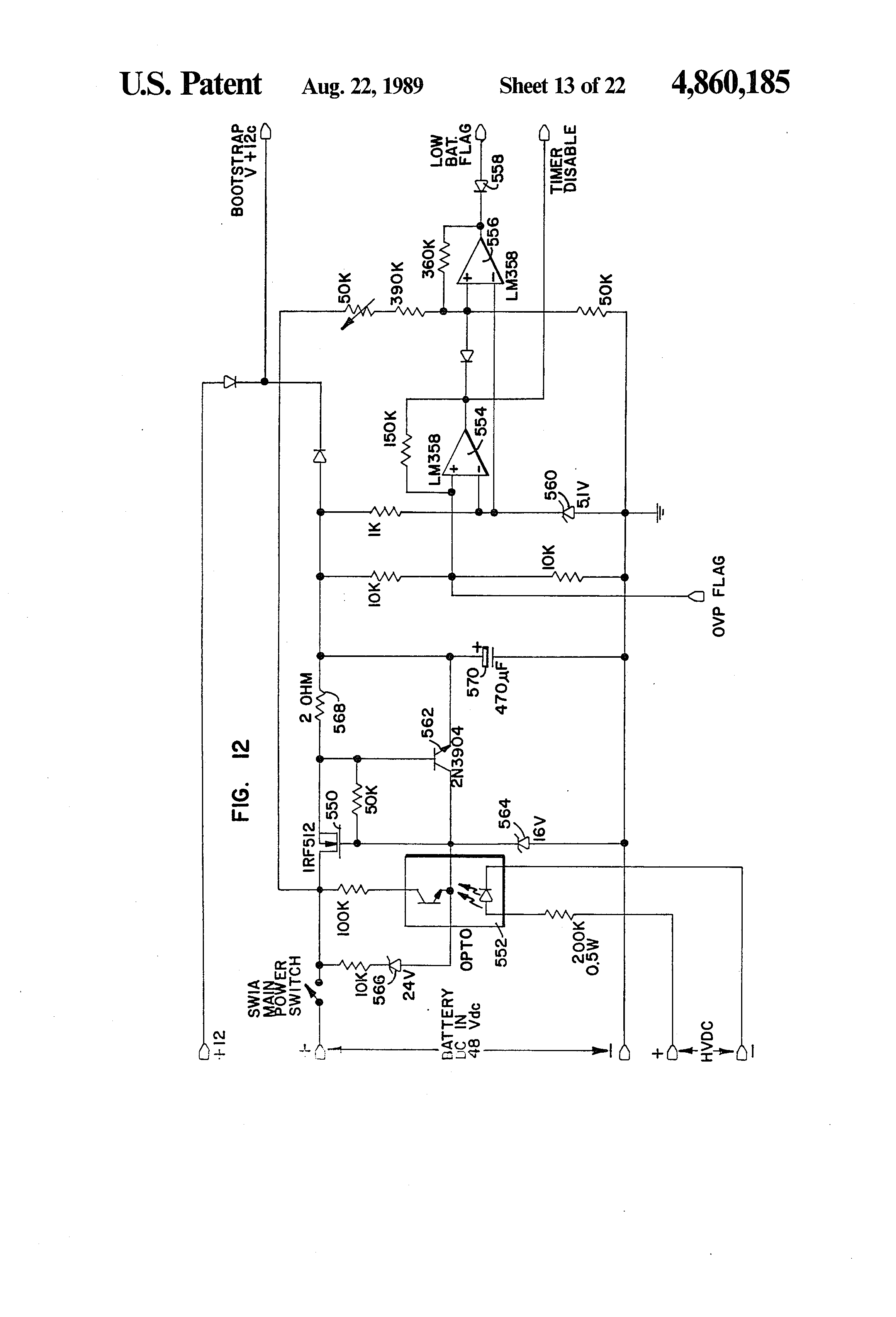 Patent Us4860185 Integrated Uninterruptible Power Supply For 60 Watts Linear Amplifier With Irf840 Drawing