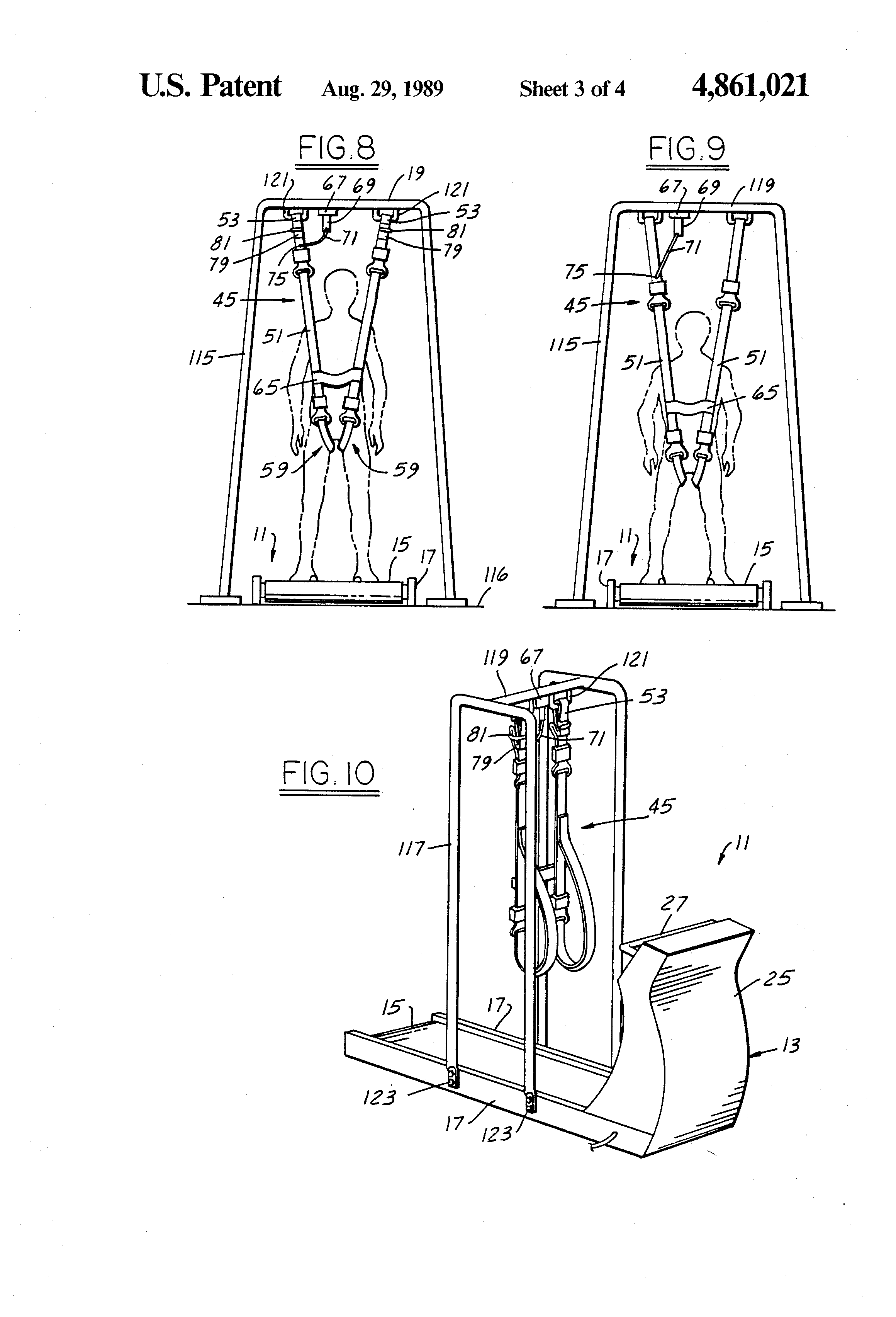 patent us4861021 - safety harness on  off switch assembly for treadmills