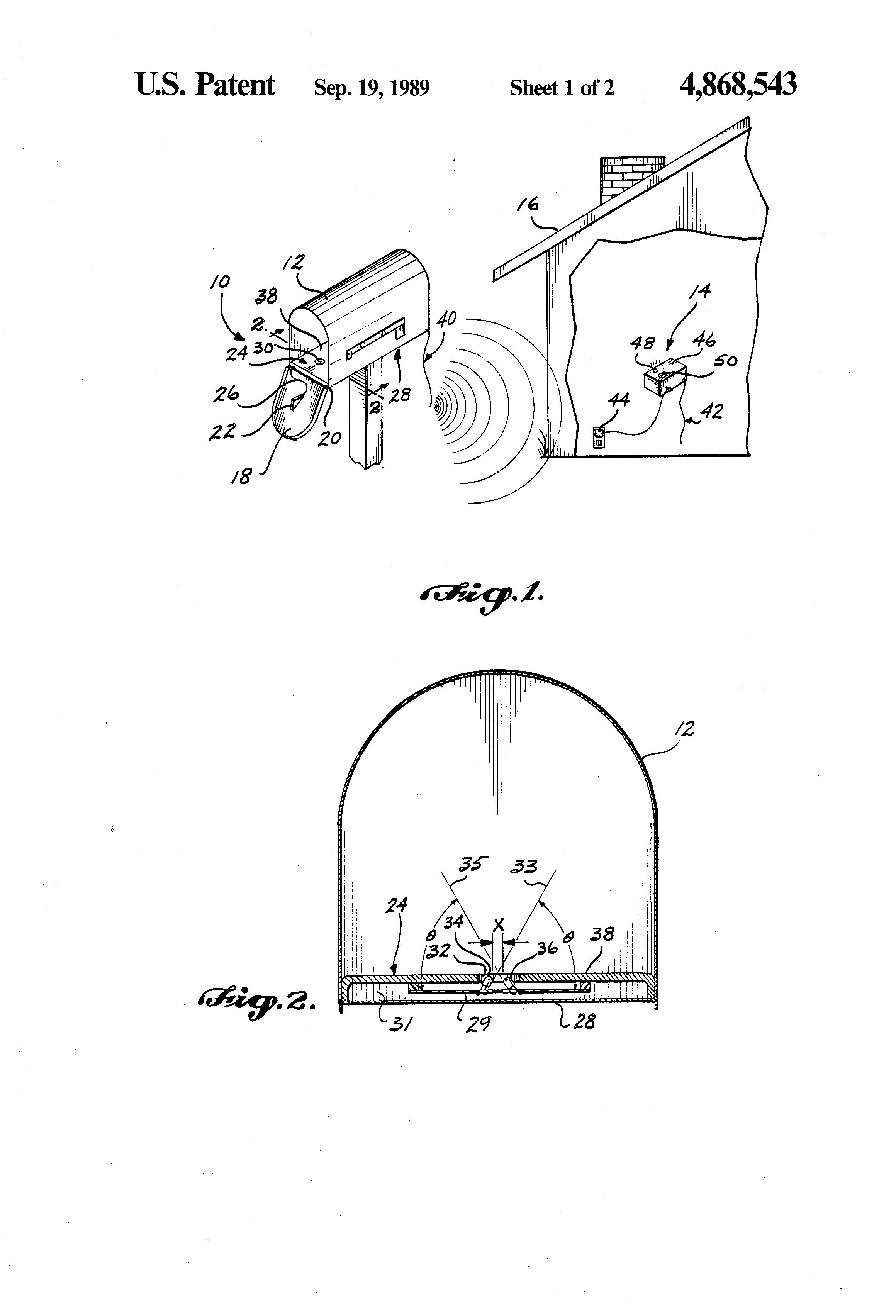 patent us4868543 - remote mailbox alarm system