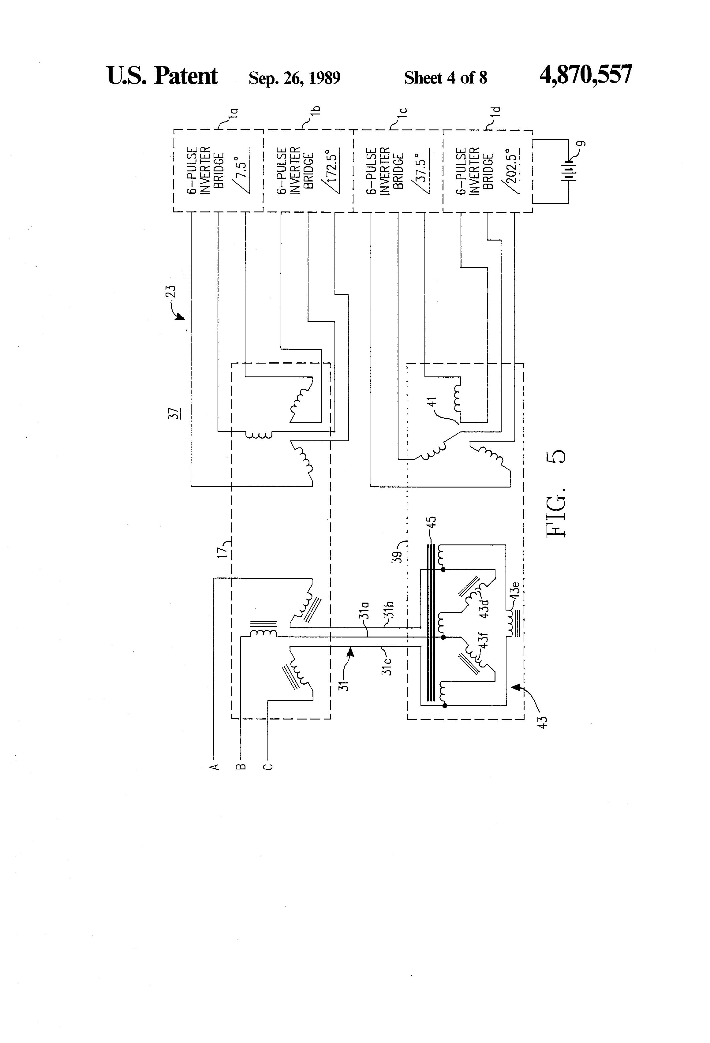 Patent Us4870557 Simplified Quasi Harmonic Neutralized High Power H Bridge Inverter Circuit Diagram Drawing