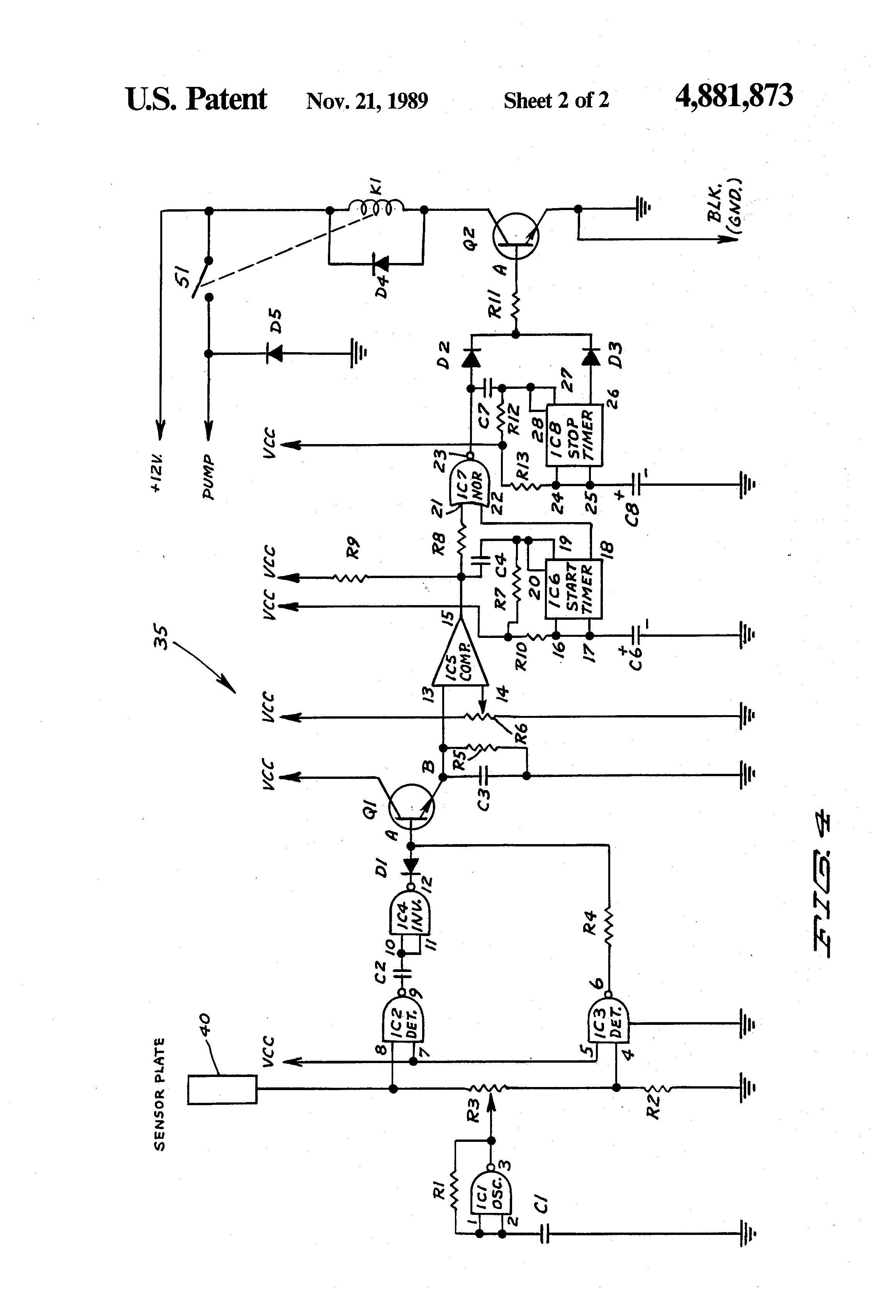 patent us4881873 - capacitance level sensor for a bilge pump