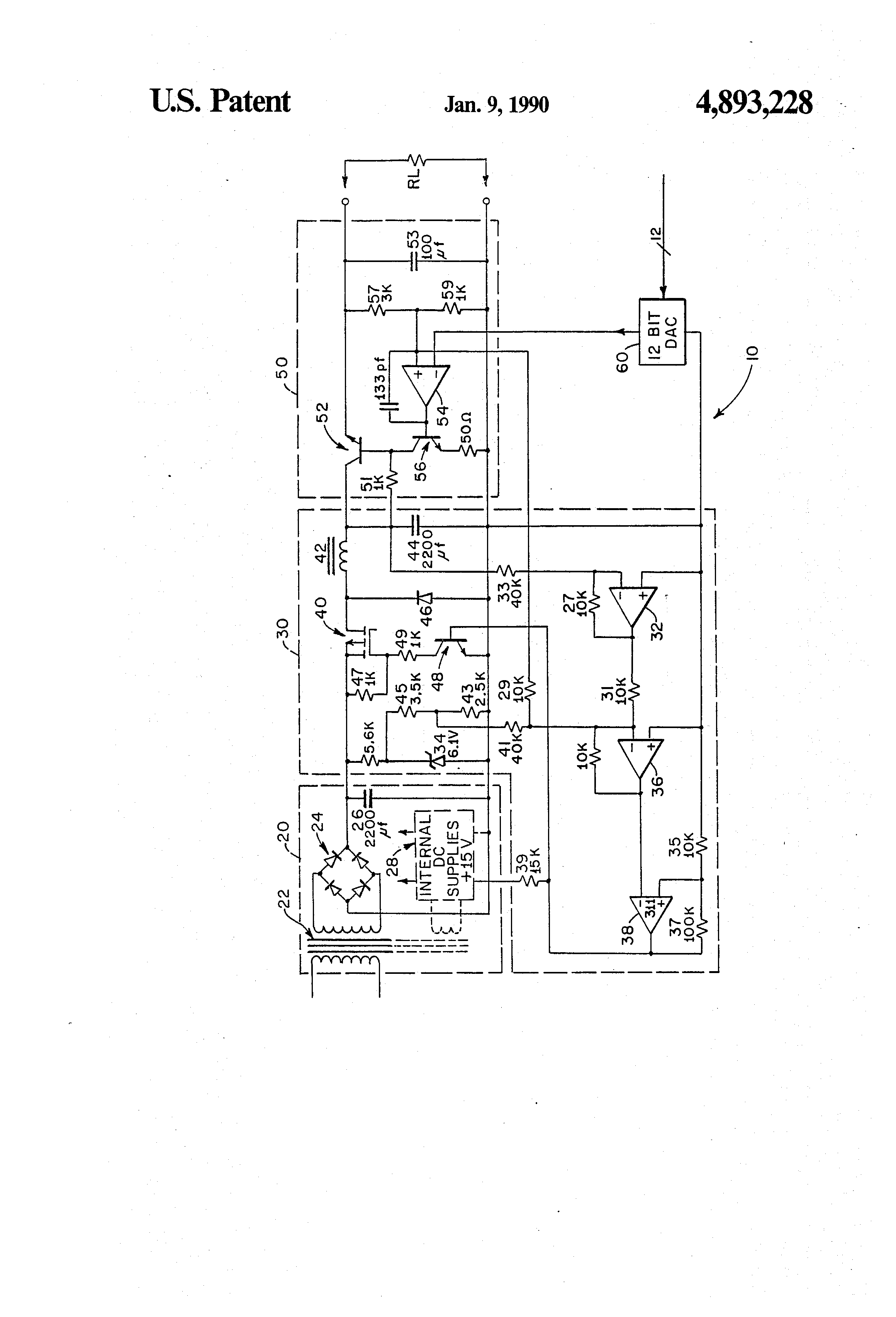 Patent Us4893228 High Efficiency Programmable Power Supply Transformerless Fet Drawing