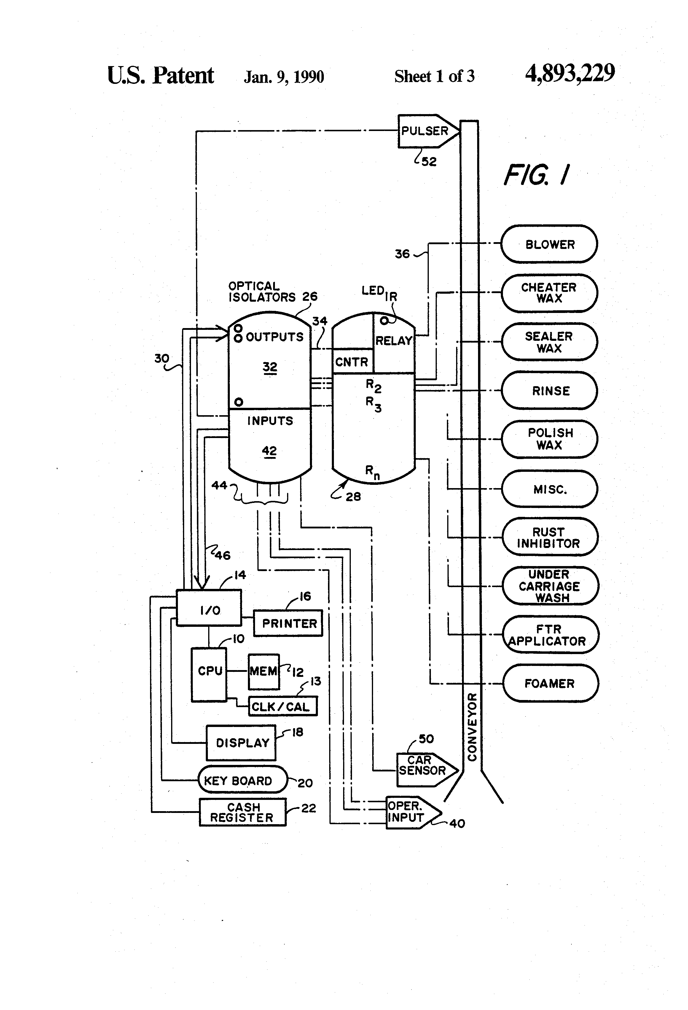 patent us4893229 - computerized car wash controller system