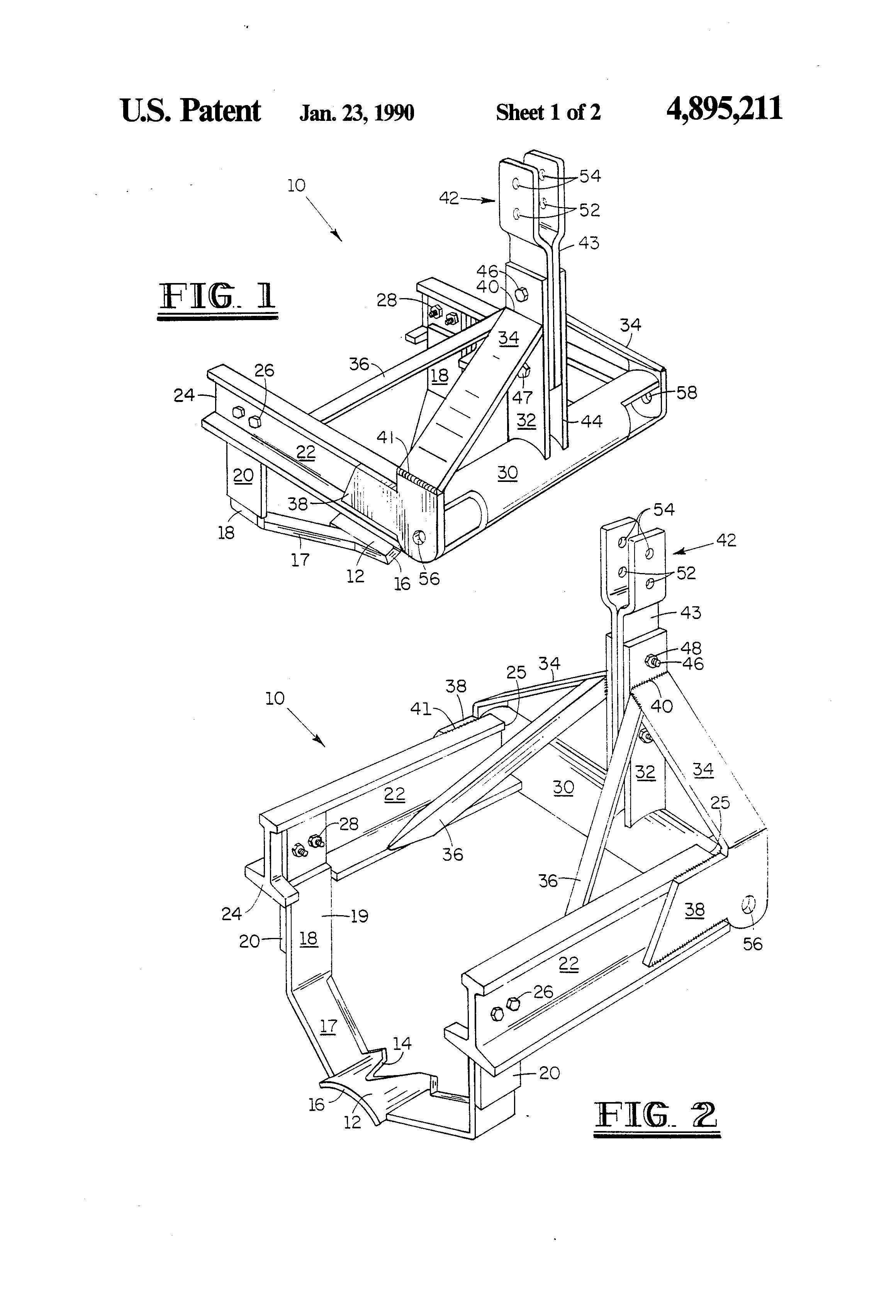 patent us4895211 - land clearing root plow and soil aerator