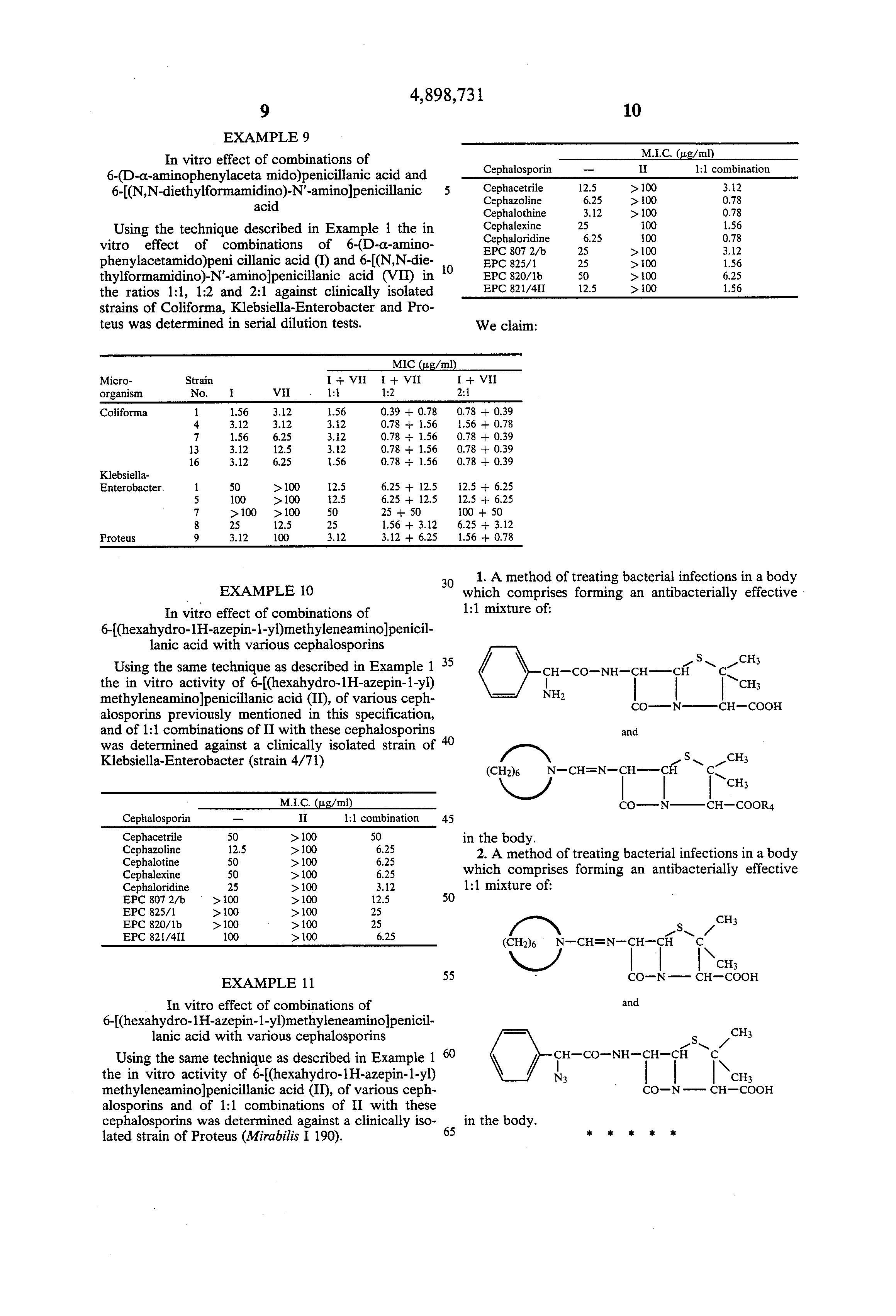 Patent US4898731 - Antibiotic combinations of penicillins