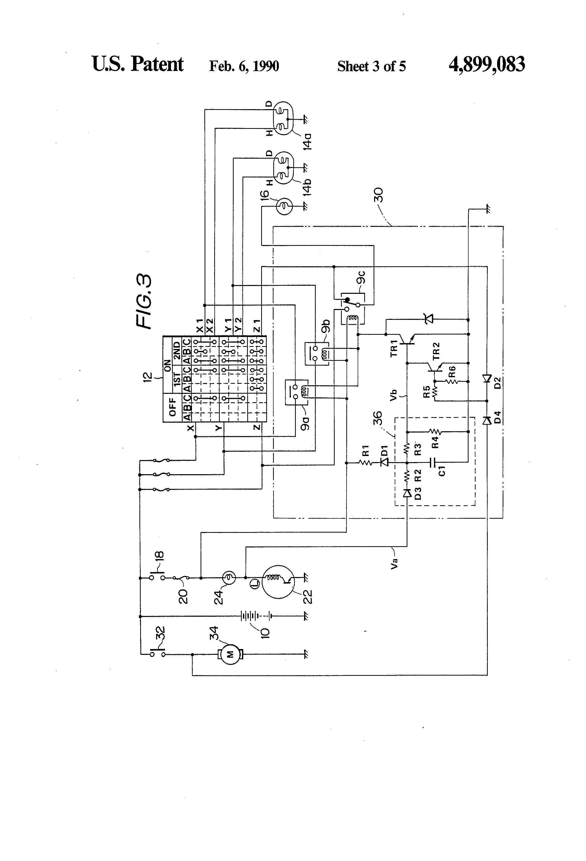 patent us4899083 - automatic lighting system for automobile, Wiring diagram