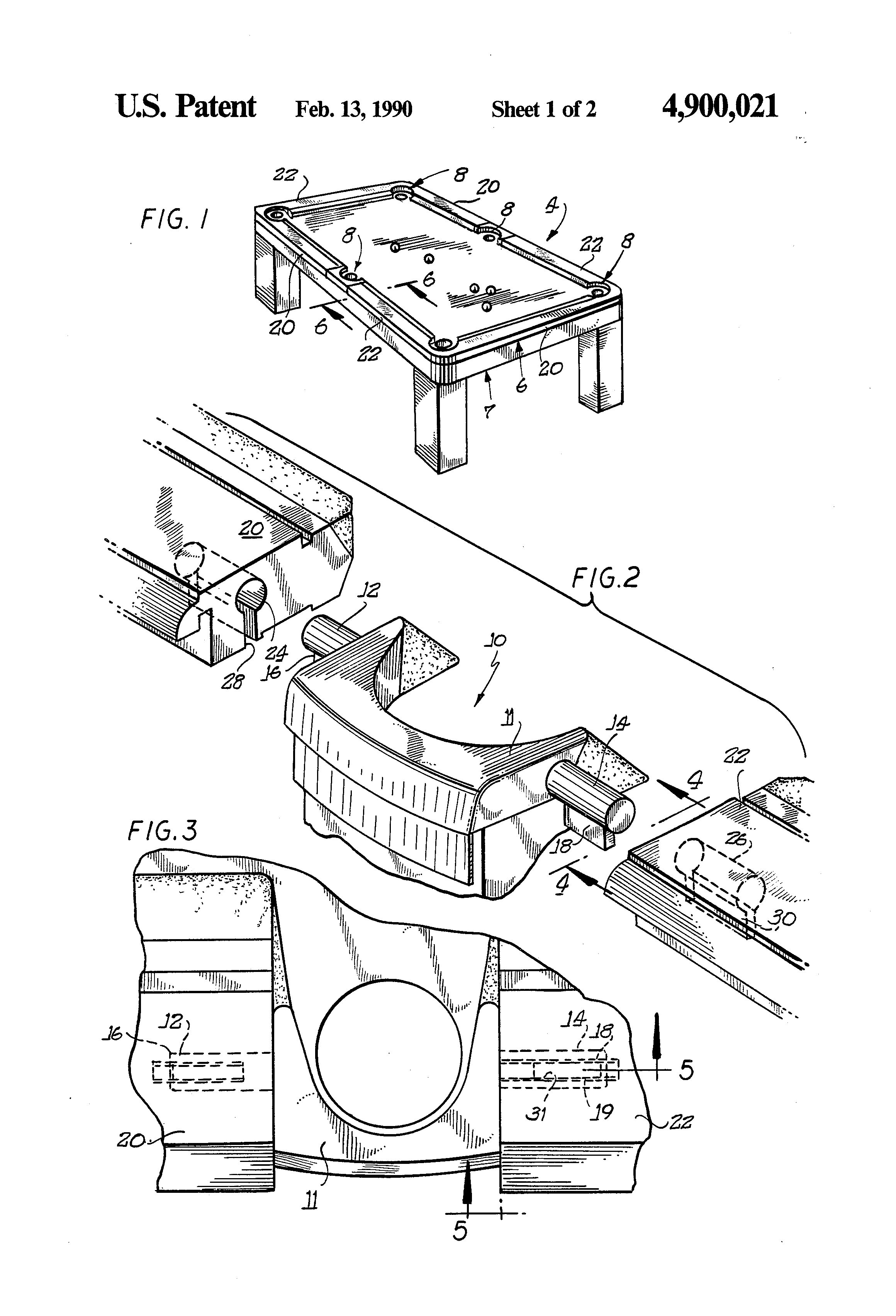Patent Us4900021 Pocket Insert For Pool Table Assembly