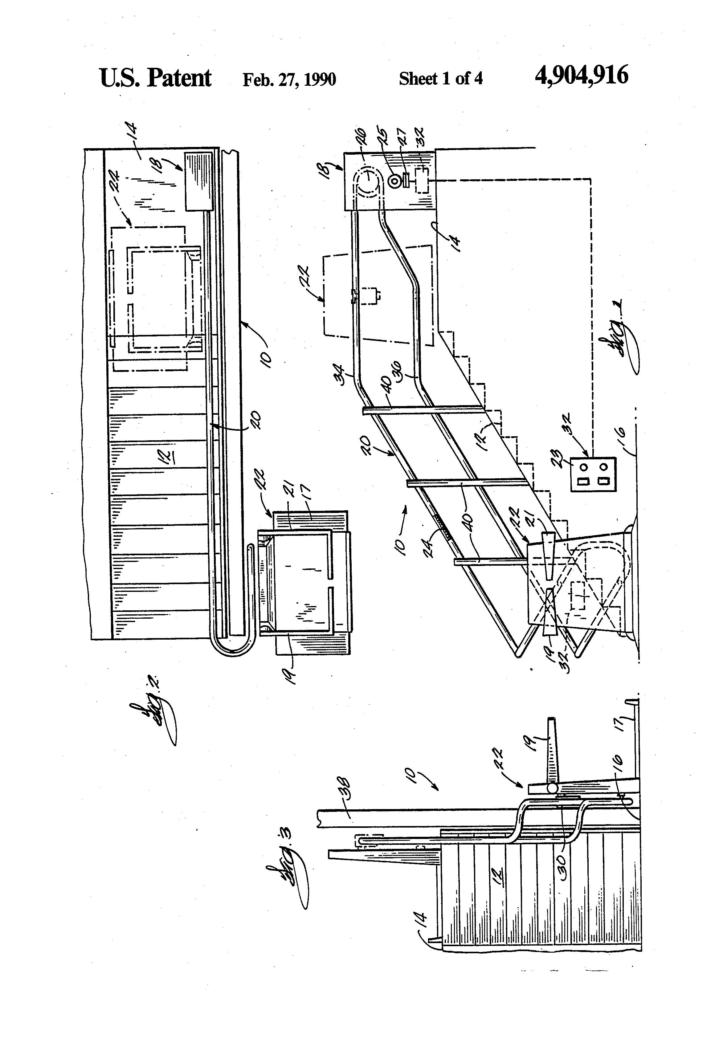 US4904916 1 patent us4904916 electrical control system for stairway stannah stair lift wiring diagram at aneh.co