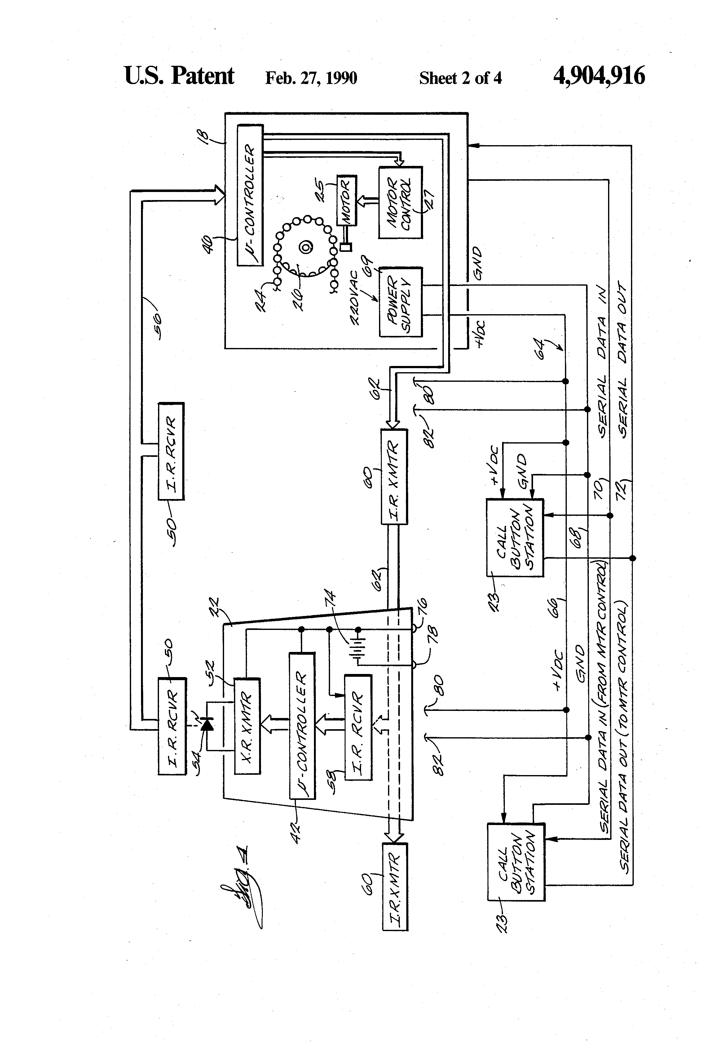 US4904916 2 patent us4904916 electrical control system for stairway stair lift wiring diagram at reclaimingppi.co