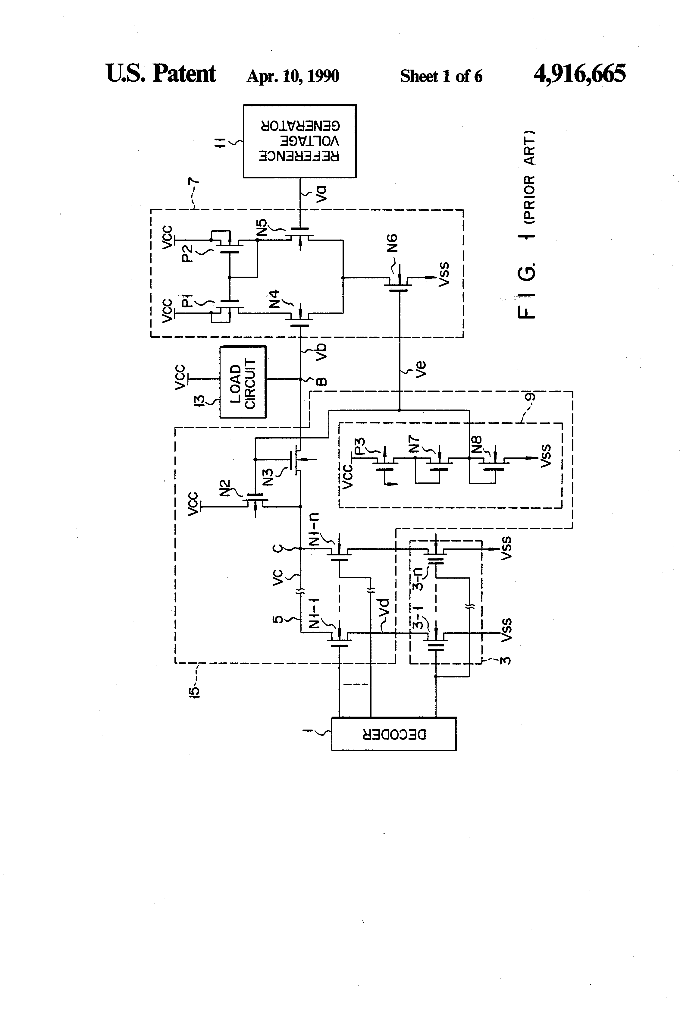 Patent Us4916665 Semiconductor Memory Device With P Channel Mos Load Circuit Drawing