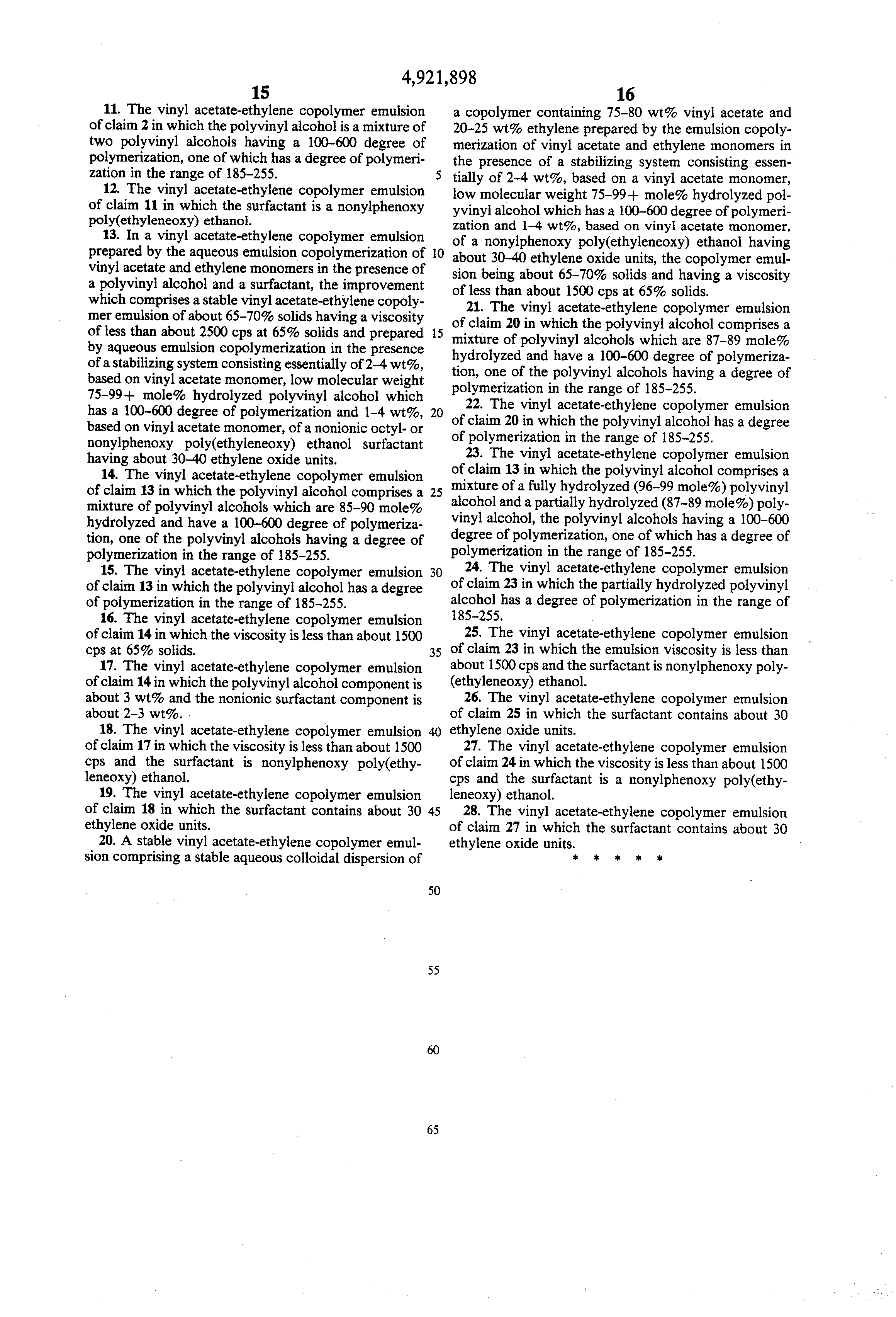 Patent Us4921898 Vinyl Acetate Ethylene Copolymer
