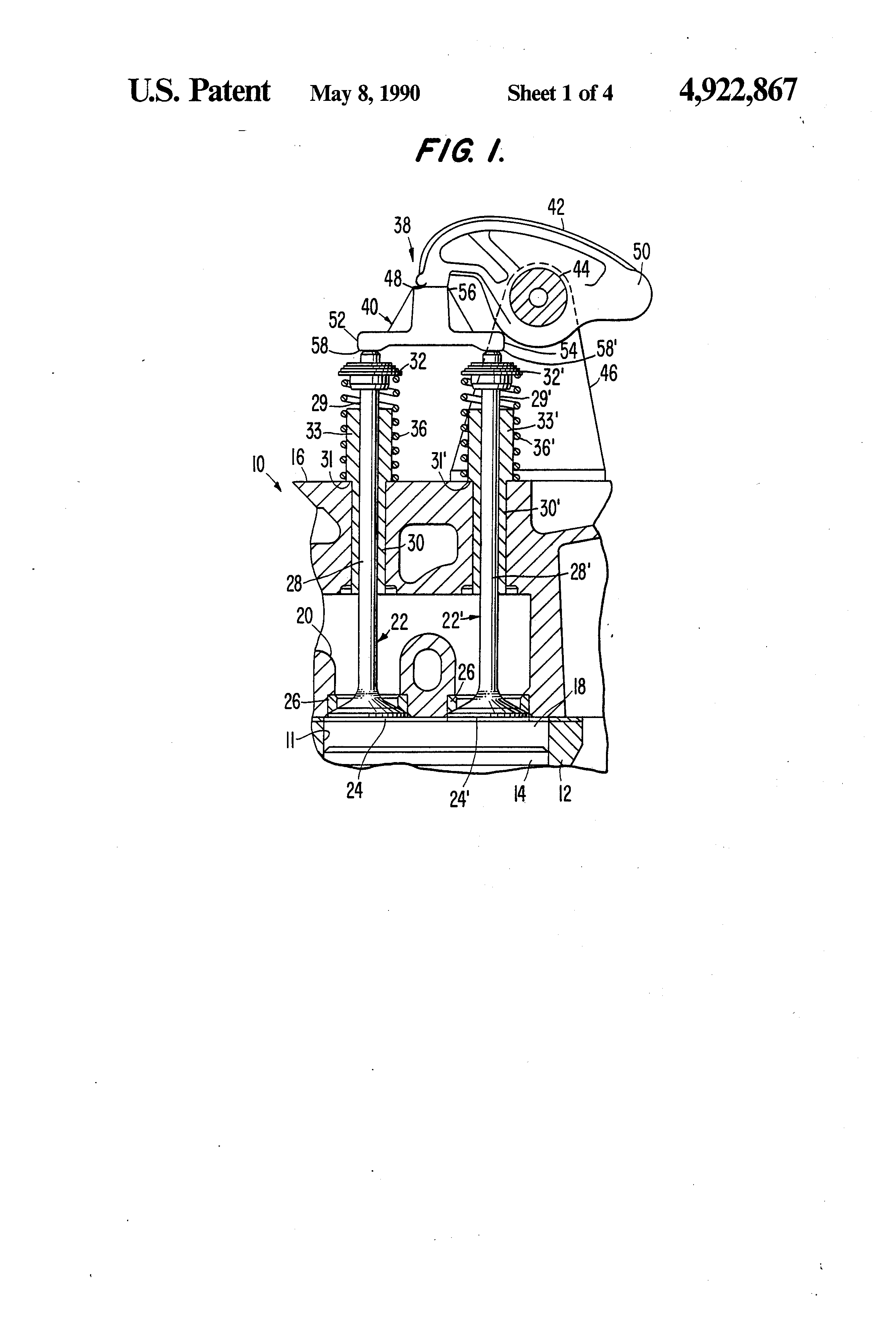 Patente Us4922867 Valve Stop Mechanism For Internal Combustion Illustrated Diagram Of A Basic Engine Patent Drawing