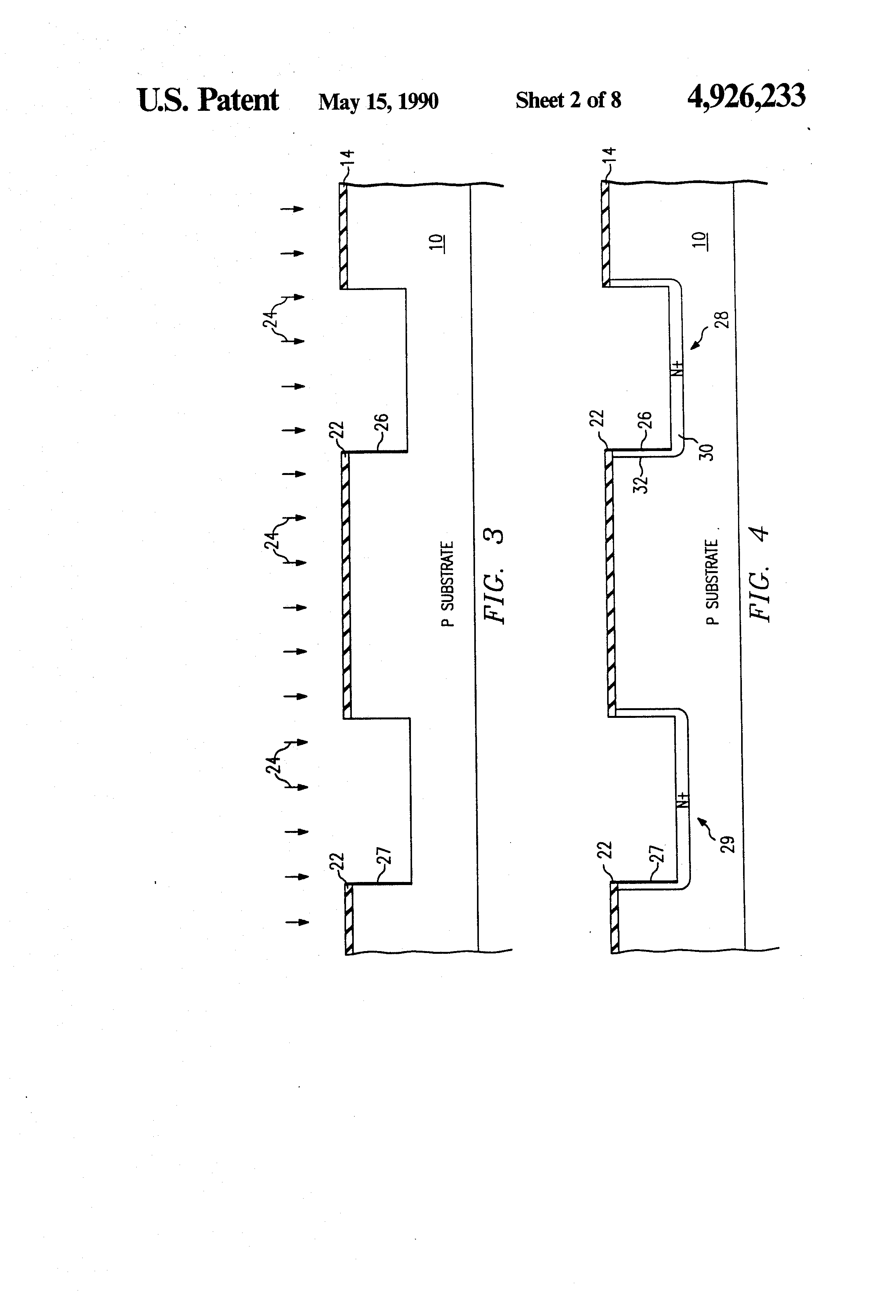 Patent Us4926233 Merged Trench Bipolar Cmos Transistor Fabrication Diffusion Of Impurities For Ic Drawing