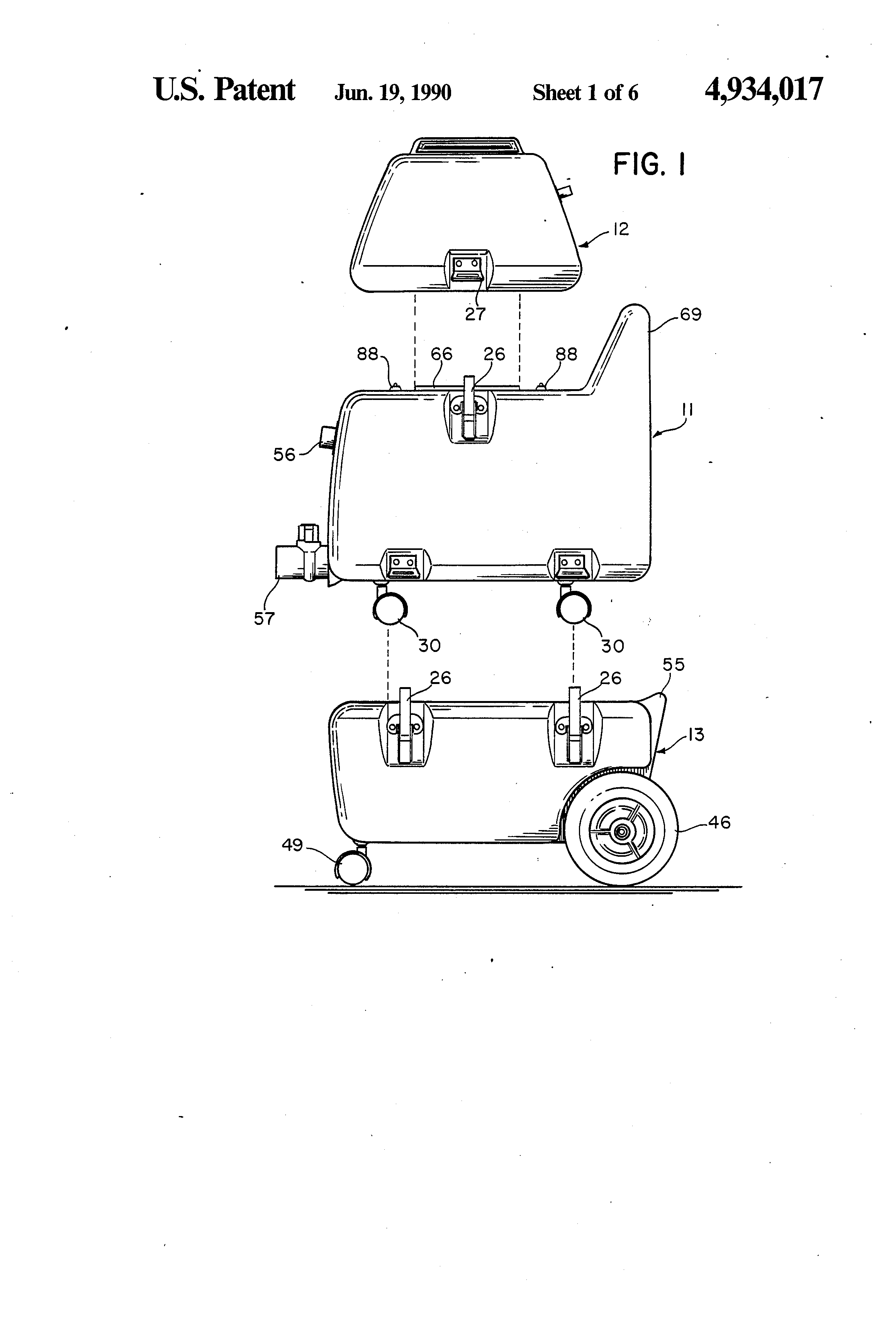 patent us4934017 modular vacuum cleaning system google patents patent drawing